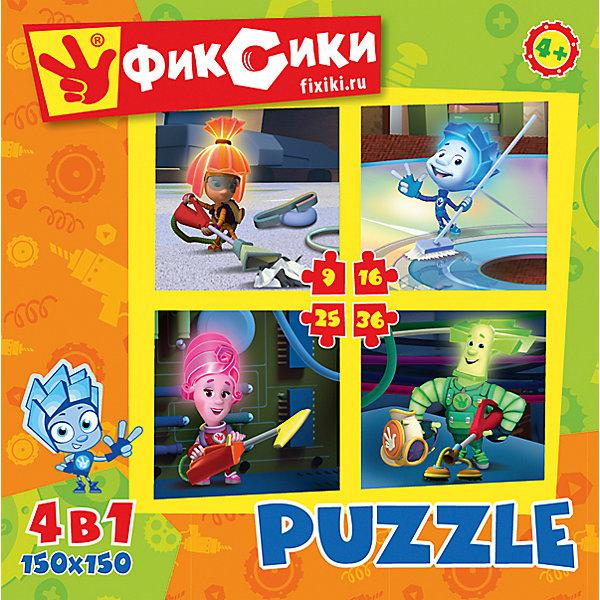 Набор из 4-х пазлов Фиксики, 9*16*25*36 деталей, OrigamiПазлы для малышей<br>Набор из 4-х пазлов Фиксики, Origami - увлекательный набор для творчества, который заинтересует Вашего ребенка и подарит ему отличное настроение. Из деталей пазла он сможет собрать четыре красочные картинки с изображениями героев популярного мультсериала Фиксики (семейство Фиксиков за уборкой). Картинки отличаются количеством входящих в них деталей и уровнем сложности. Начинайте сборку с пазла на 9 элементов, постепенно усложняя задачу до 25 элементов. Набор обладает высоким качеством полиграфии и насыщенными цветами. Благодаря ламинированному покрытию картинки надолго сохраняют свой блеск и яркие цвета. Плотный картон не дает деталям мяться и обеспечивает надежное соединение. Собирание пазла способствует развитию логического и пространственного мышления, внимания, мелкой моторики и координации движений.<br><br>Дополнительная информация:<br><br>- Материал: картон. <br>- Количество деталей: 9, 16, 25, 36.<br>- Размер собранной картинки: 15 х 15 см.<br>- Размер упаковки: 18 x 18 x 5 см.<br>- Вес: 160 гр.<br> <br>Набор из 4-х пазлов Фиксики, 9*16*25*36 деталей, Origami, можно купить в нашем интернет-магазине.<br>Ширина мм: 180; Глубина мм: 50; Высота мм: 180; Вес г: 178; Возраст от месяцев: 36; Возраст до месяцев: 96; Пол: Унисекс; Возраст: Детский; SKU: 4614950;
