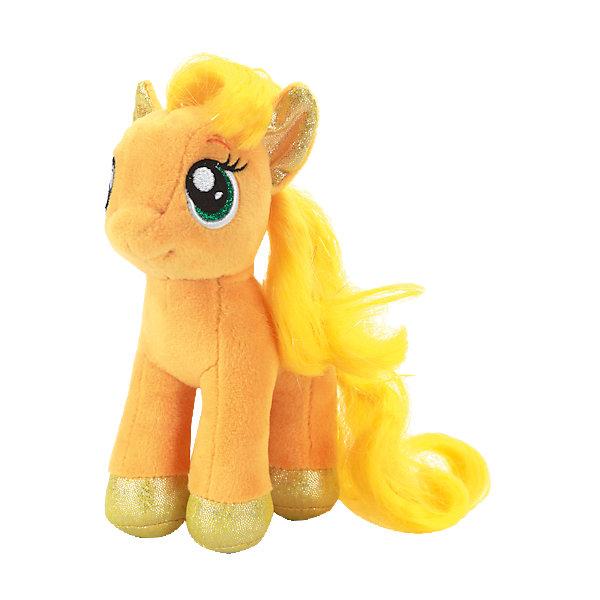 Мягкая игрушка Пони Эпплджек, 18 см, со звуком, My little Pony, МУЛЬТИ-ПУЛЬТИМузыкальные мягкие игрушки<br>Очаровательная пони приведет в восторг всех поклонниц мультсериала Моя маленькая пони. Милая Эпплджек имеет большие выразительные глаза, пышную гриву и хвост. Малышка пони споет девочке песенку и позабавит веселыми фразами. <br>Игрушка выполнена из высококачественного материала, хорошо набита, приятна на ощупь. Прекрасный подарок для девочки! <br><br>Дополнительная информация:<br><br>- Материал: пластик, текстиль, синтепон. <br>- Размер куклы: 18 см.<br>- Звуковые эффекты: говорит фразы, поет песенку.<br>- Элемент питания: батарейки (в комплекте).<br><br>Мягкую игрушку Пони Эпплджек, 18 см, со звуком, My little Pony (Май литл Пони), МУЛЬТИ-ПУЛЬТИ, можно купить в нашем магазине.<br><br>Ширина мм: 150<br>Глубина мм: 230<br>Высота мм: 90<br>Вес г: 100<br>Возраст от месяцев: 36<br>Возраст до месяцев: 96<br>Пол: Женский<br>Возраст: Детский<br>SKU: 4614952