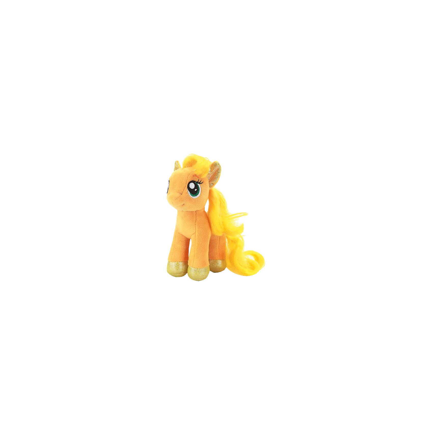 Мягкая игрушка Пони Эпплджек, 18 см, со звуком, My little Pony, МУЛЬТИ-ПУЛЬТИОчаровательная пони приведет в восторг всех поклонниц мультсериала Моя маленькая пони. Милая Эпплджек имеет большие выразительные глаза, пышную гриву и хвост. Малышка пони споет девочке песенку и позабавит веселыми фразами. <br>Игрушка выполнена из высококачественного материала, хорошо набита, приятна на ощупь. Прекрасный подарок для девочки! <br><br>Дополнительная информация:<br><br>- Материал: пластик, текстиль, синтепон. <br>- Размер куклы: 18 см.<br>- Звуковые эффекты: говорит фразы, поет песенку.<br>- Элемент питания: батарейки (в комплекте).<br><br>Мягкую игрушку Пони Эпплджек, 18 см, со звуком, My little Pony (Май литл Пони), МУЛЬТИ-ПУЛЬТИ, можно купить в нашем магазине.<br><br>Ширина мм: 150<br>Глубина мм: 230<br>Высота мм: 90<br>Вес г: 100<br>Возраст от месяцев: 36<br>Возраст до месяцев: 96<br>Пол: Женский<br>Возраст: Детский<br>SKU: 4614952