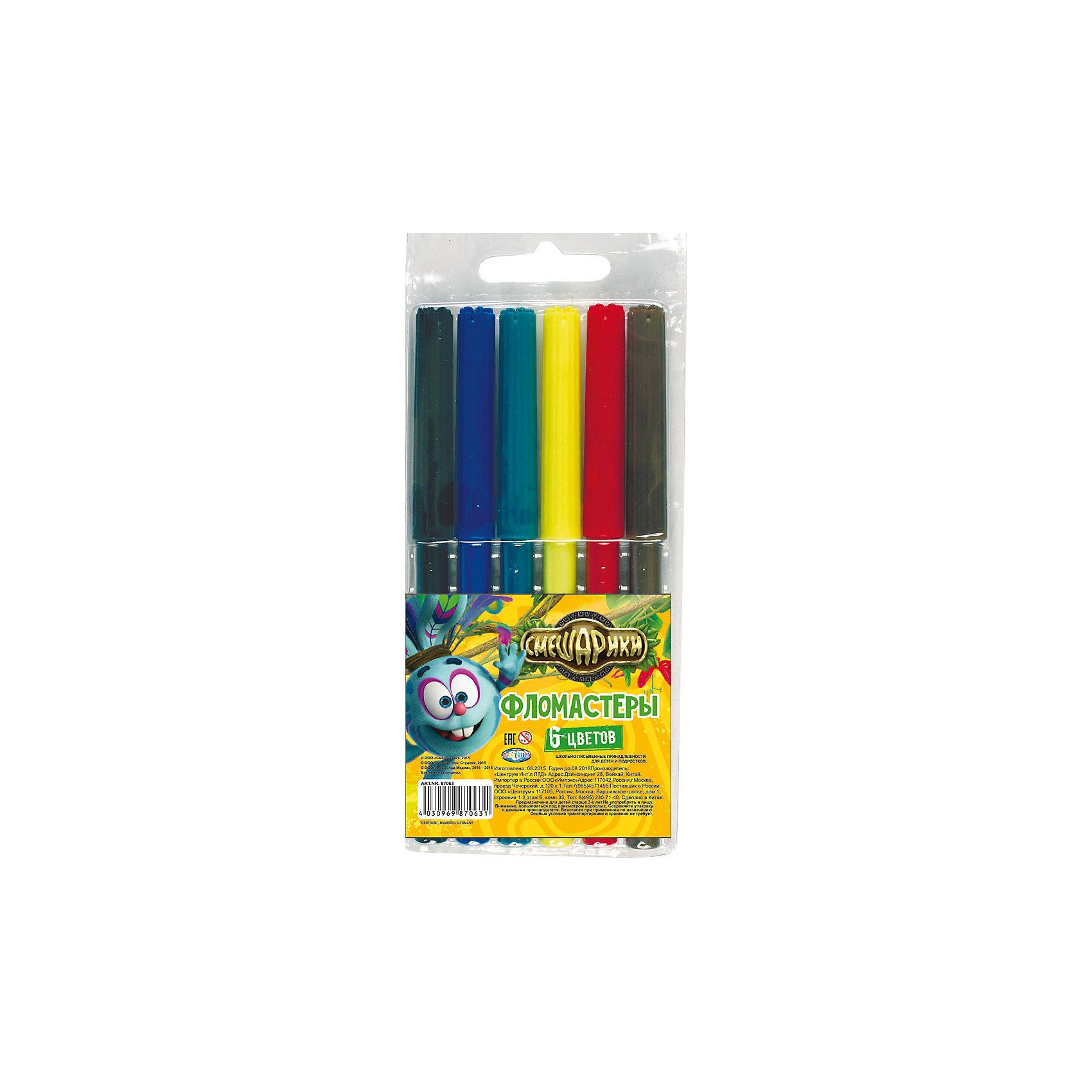 Фломастеры Крош 6 цветовЯркие фломастеры СМЕШАРИКИ с изображением Кроша на упаковке от известной марки Centrum.  Выполнены из качественных материалов, долговечны, обладают насыщенными цветами. В комплекте 6 основных цветов. Неугомонный Крош на упаковке порадует Вашего ребенка. <br><br>Дополнительная информация:<br>- 6 цветов<br>- прочная ПВХ-упаковка<br>- размер: 160х65х10 мм<br><br>Фломастеры СМЕШАРИКИ - КРОШ можно купить в нашем интернет-магазине<br><br>Ширина мм: 10<br>Глубина мм: 65<br>Высота мм: 160<br>Вес г: 42<br>Возраст от месяцев: 36<br>Возраст до месяцев: 96<br>Пол: Унисекс<br>Возраст: Детский<br>SKU: 4616043