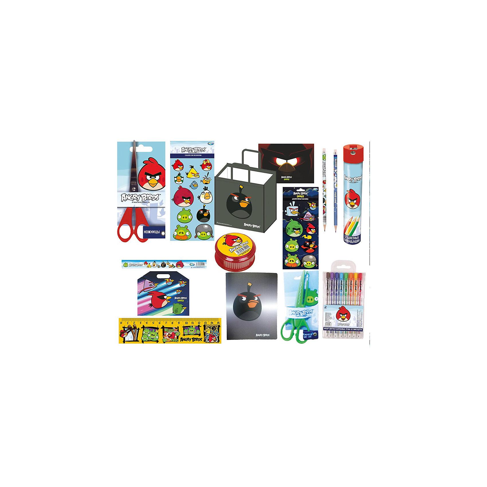 Набор школьных принадлежностей Angry BirdsВсе школьные принадлежности в одном месте! Набор Angry Birds станет лучшим подарком для вашего школьника! Яркий принт с любимыми героями порадует каждого ребенка, а функциональное наполнение поможет ему в процессе обучения. Все изделия выполнены из качественных материалов с учетом психофизиологических особенностей школьников младшего и среднего звена. В набор входит:<br>- вместительная папка-портфель с удобной ручкой <br>- картонная папка формата А4 на резинках<br>- сумка 34,5*34,5*9 см. <br>- линейка <br>- ножницы <br>- набор цветных ручек - 6 шт. <br>- набор магнитов <br>- 2 упаковки декоративных наклеек<br>- точилка<br><br>Дополнительная информация:<br>- размеры: 30х22х6 см<br>- вес: 700 гр.<br><br>Набор школьных принадлежностей Angry Birds можно купить в нашем интернет-магазине<br><br>Ширина мм: 60<br>Глубина мм: 220<br>Высота мм: 300<br>Вес г: 700<br>Возраст от месяцев: 36<br>Возраст до месяцев: 108<br>Пол: Унисекс<br>Возраст: Детский<br>SKU: 4616062