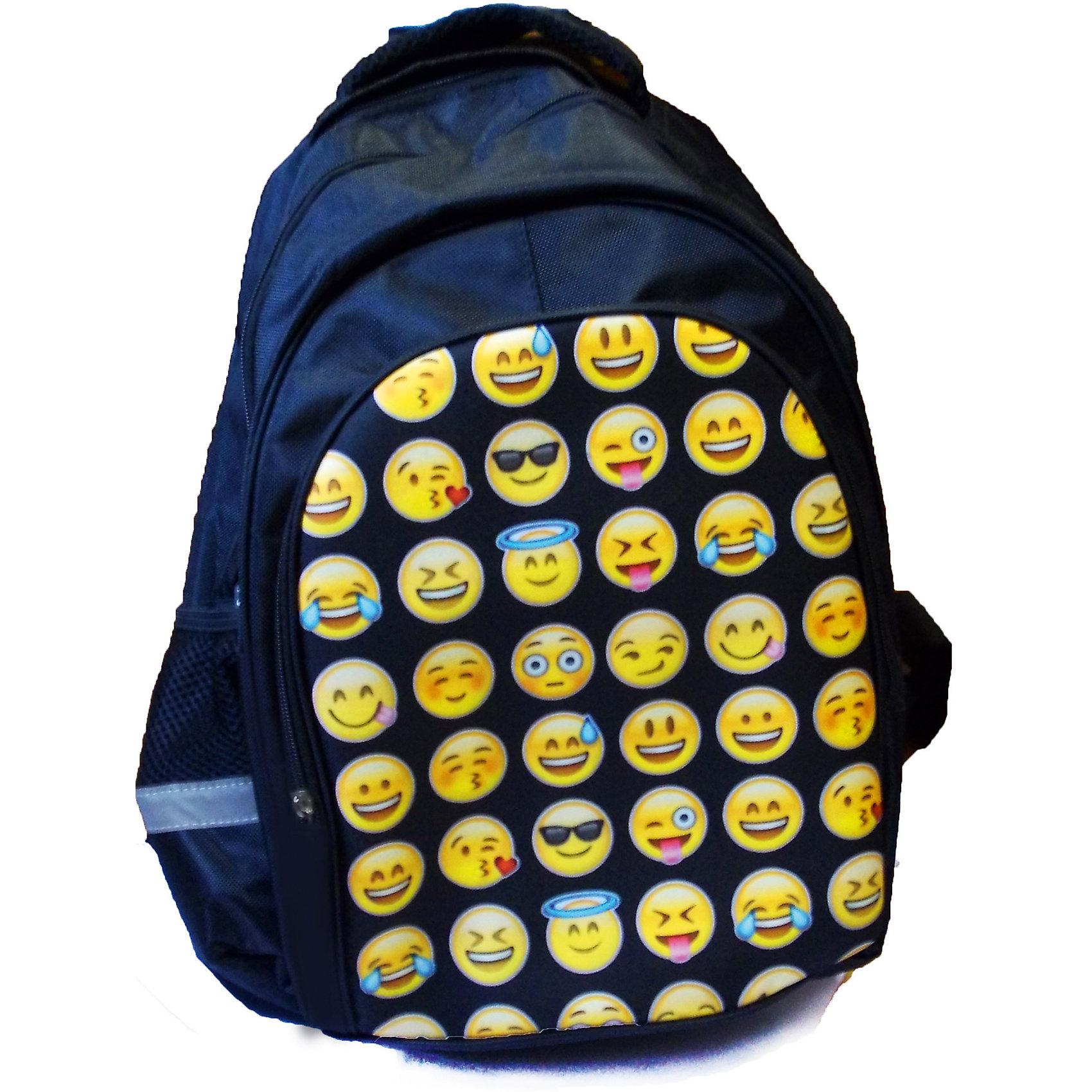 Школьный рюкзак СмайлыШкольные рюкзаки<br>Яркий и модный рюкзак Смайлы  - отличный выбор для Вашего школьника. Изделие выполнено из плотного износостойкого материала и обладает следующими особенностями:<br>- 1 вместительное отделение;<br>- 1 большой внешний карман;<br>- 2 боковых кармана;<br>- удобные застежки-молнии;<br>- широкие лямки, регулируемые по длине;<br>- удобная ручка для переноса рюкзака;<br>- светоотражающие элементы для безопасности ребенка в темное время суток;<br>- прочное днище;<br>- привлекательный дизайн<br><br>Дополнительная информация:<br>- размеры: 44х29х15 см<br>- вес: 1000 гр.<br>- материал: полиэстер 600 ден<br><br>Рюкзак Смайлы  можно купить в нашем интернет-магазине<br><br>Ширина мм: 150<br>Глубина мм: 290<br>Высота мм: 440<br>Вес г: 1000<br>Возраст от месяцев: 72<br>Возраст до месяцев: 192<br>Пол: Унисекс<br>Возраст: Детский<br>SKU: 4616117