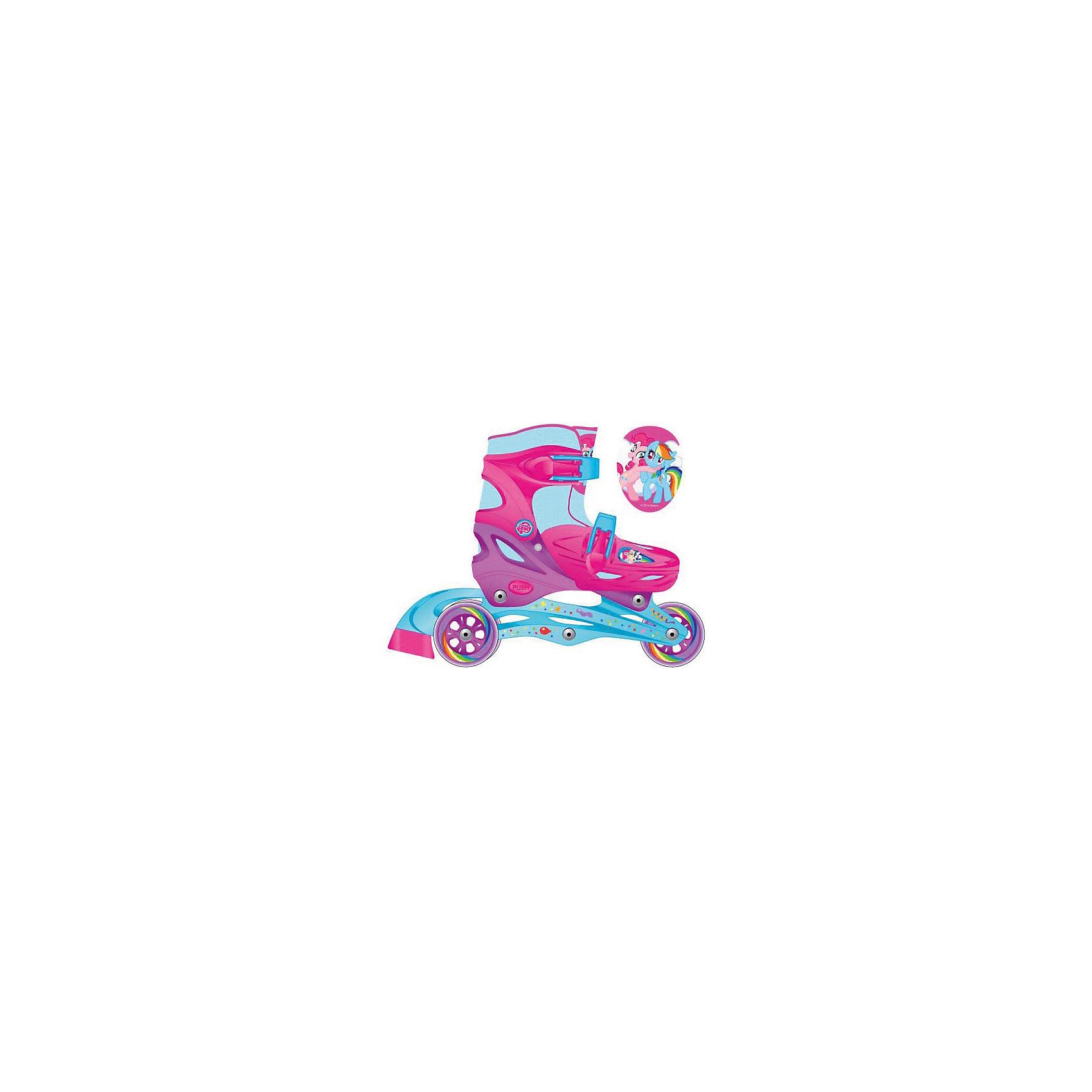 Роликовые коньки, раздвижные, My little PonyРолики<br>Характеристики товара:<br><br>• материал: полимер<br>• цвет: голубой, розовый<br>• колеса: 64х24 мм<br>• удобный тормоз сзади<br>• жесткий ботинок обеспечивает надежную фиксацию стопы<br>• раздвижные - хватит на несколько сезонов<br>• колеса можно расположить как в ряд, так и два - сзади<br>• надежные материалы<br>• декорированы принтом<br>• продуманная конструкция<br>• яркий цвет<br><br>Подарить ребенку такие ролики - значит, помочь его развитию! Они способствуют скорейшему развитию способности ориентироваться в пространстве, развивают физические способности, мышление и ловкость. Помимо этого, кататься на них - очень увлекательное занятие!<br><br>Эти ролики разработаны специально для детей. Они раздвижные, поэтому размер легко меняется, что позволяет не покупать новые ролики на каждый сезон. Жесткий ботинок помогает защитить голеностоп. Данная модель выполнена в ярком дизайне, отличается продуманной конструкцией и деталями, которые обеспечивают безопасность ребенка. Отличный подарок для активного малыша!<br><br>Роликовые коньки, раздвижные, My little Pony, от бренда Next можно купить в нашем интернет-магазине.<br><br>Ширина мм: 650<br>Глубина мм: 330<br>Высота мм: 440<br>Вес г: 1950<br>Цвет: разноцветный<br>Возраст от месяцев: 24<br>Возраст до месяцев: 72<br>Пол: Женский<br>Возраст: Детский<br>Размер: 26-29,30-33<br>SKU: 4616440