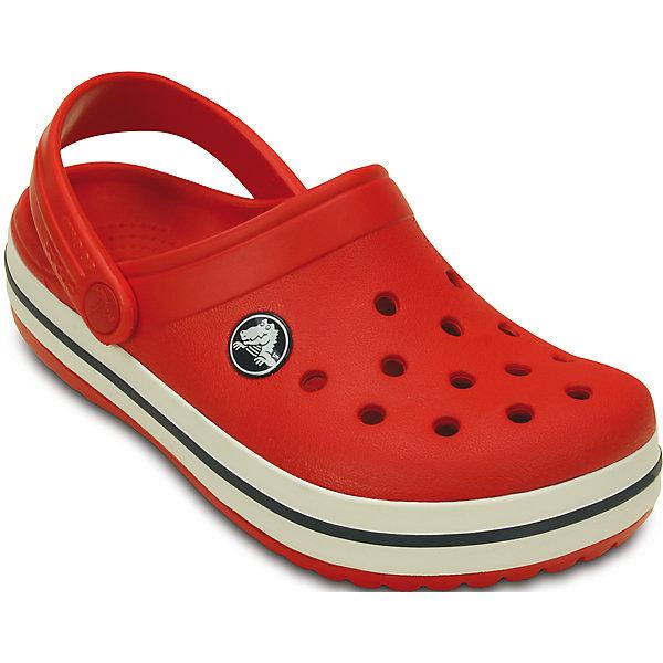 Сабо Toddler Kids Crocband Clog CrocsПляжная обувь<br>Характеристики товара:<br><br>• цвет: красный<br>• материал: 100% полимер Croslite™<br>• литая модель<br>• вентиляционные отверстия<br>• бактериостатичный материал<br>• пяточный ремешок фиксирует стопу<br>• толстая устойчивая подошва<br>• отверстия для использования украшений<br>• анатомическая стелька с массажными точками стимулирует кровообращение<br>• страна бренда: США<br>• страна изготовитель: Китай<br><br>Для правильного развития ребенка крайне важно, чтобы обувь была удобной. Такие сабо обеспечивают детям необходимый комфорт, а анатомическая стелька с массажными линиями для стимуляции кровообращения позволяет ножкам дольше не уставать. Сабо легко надеваются и снимаются, отлично сидят на ноге. Материал, из которого они сделаны, не дает размножаться бактериям, поэтому такая обувь препятствует образованию неприятного запаха и появлению болезней стоп. <br>Обувь от американского бренда Crocs в данный момент завоевала широкую популярность во всем мире, и это не удивительно - ведь она невероятно удобна. Её носят врачи, спортсмены, звёзды шоу-бизнеса, люди, которым много времени приходится бывать на ногах - они понимают, как важна комфортная обувь. Продукция Crocs - это качественные товары, созданные с применением новейших технологий. Обувь отличается стильным дизайном и продуманной конструкцией. Изделие производится из качественных и проверенных материалов, которые безопасны для детей.<br><br>Сабо от торговой марки Crocs можно купить в нашем интернет-магазине.<br>Ширина мм: 225; Глубина мм: 139; Высота мм: 112; Вес г: 290; Цвет: красный; Возраст от месяцев: 24; Возраст до месяцев: 24; Пол: Унисекс; Возраст: Детский; Размер: 25/26,21/22,33/34,31/32,29/30,27/28,23/24,34/35; SKU: 4616492;