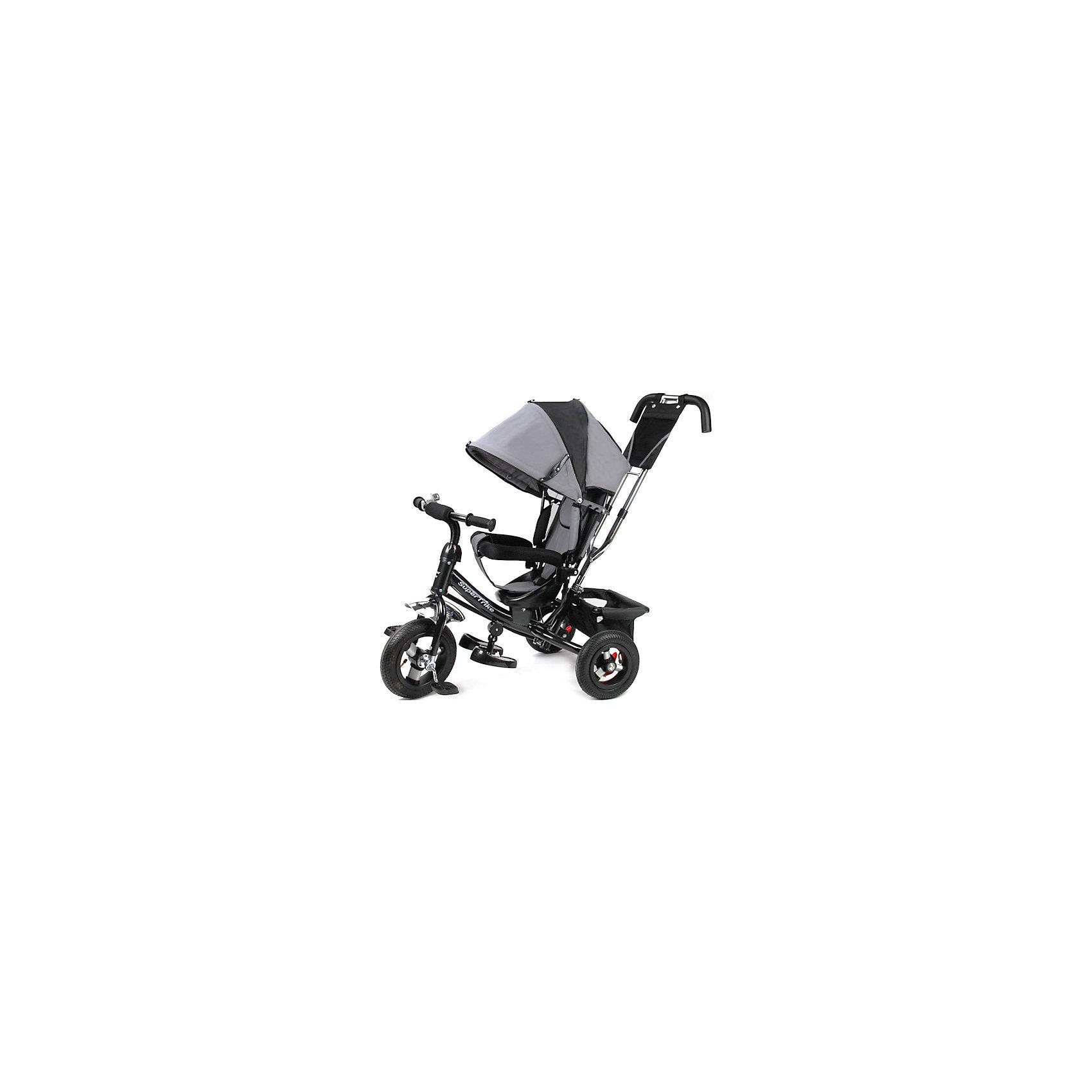 Трехколесный велосипед, с надувными колесами, Super TrikeТрехколесный велосипед Super Trike - прекрасный вариант для прогулок с малышом! Большие надувные колеса обеспечивают отличную проходимость и амортизацию. Для родителей предусмотрена специальная ручка, которая помогает управлять велосипедом, меняя угол поворота переднего колеса.  Ремни безопасности и съемный бампер обеспечат комфорт и защиту для малышей. Большой складной капюшон убережет кроху от солнца или же мелкого дождя, а регулируемая спинка и складная подножка под сиденьем позволят отдохнуть, если ребенок устанет во время прогулки. Велосипед имеет тормоз на задних колесах и корзину для вещей или игрушек. Модель выполнена из прочных материалов, все текстильные элементы изготовлены из влагоустойчивой ткани, которая легко стирается. <br><br>Дополнительная информация:<br><br>- Материал: пластик, металл, текстиль.<br>- Размер: 47 x 110 x 81 см.<br>- Количество колес: 3.<br>- Надувные колеса: D - 10 и 8 дюймов<br>- Съемная родительская ручка, управляющая передним колесом.<br>- Регулируемая спинка.<br>- Ремни безопасности.<br>- Бампер.<br>- Складной капюшон (снимается).<br>- Мягкий чехол на сиденье.<br>- Складные подножки под сиденьем.<br>- Тормоз на задних колесах.<br>- Багажная корзина.<br>- Ручка, крыша, бампер и корзина снимаются.<br>- Максимальный вес ребенка: 30 кг.<br><br>Трехколесный велосипед, с надувными колесами, Super Trike, можно купить в нашем магазине.<br><br>Ширина мм: 270<br>Глубина мм: 400<br>Высота мм: 600<br>Вес г: 11000<br>Возраст от месяцев: 12<br>Возраст до месяцев: 36<br>Пол: Унисекс<br>Возраст: Детский<br>SKU: 4618185