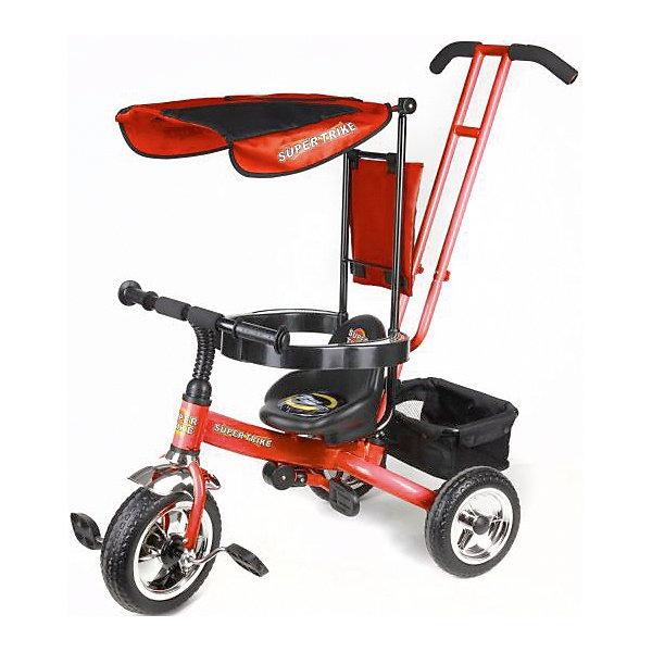 Трехколесный велосипед, оранжевый,  Super TrikeВелосипеды детские<br>Трехколесный велосипед Super Trike - прекрасный вариант для прогулок с малышом! Большие литые колеса гарантируют отличную проходимость и амортизацию. Дуга безопасности, бампер, складная подножка - обеспечат комфорт и надежную защиту, сетчатый тент убережет малыша от прямых солнечных лучей. Для родителей предусмотрена специальная ручка, которая помогает управлять велосипедом, меняя угол поворота переднего колеса. Велосипед имеет удобную корзину для вещей и игрушек.  <br><br>Дополнительная информация:<br><br>- Материал: пластик, металл, текстиль.<br>- Размер: 83 x 52 x 97 см.<br>- Количество колес: 3.<br>- Литые колеса: D - 10 и 8 дюймов<br>- Ручка для родителей. <br>- Дуга безопасности.<br>- Тент от солнца.<br>- Подножки под сиденьем.<br>- Багажная корзина.<br>- Максимальный вес ребенка: 25 кг.<br><br>Трехколесный велосипед, оранжевый, Super Trike, можно купить в нашем магазине.<br>Ширина мм: 610; Глубина мм: 260; Высота мм: 400; Вес г: 8700; Возраст от месяцев: 12; Возраст до месяцев: 36; Пол: Унисекс; Возраст: Детский; SKU: 4618190;