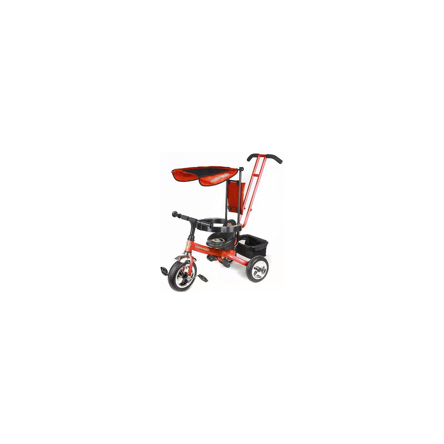 Трехколесный велосипед, оранжевый,  Super TrikeВелосипеды детские<br>Трехколесный велосипед Super Trike - прекрасный вариант для прогулок с малышом! Большие литые колеса гарантируют отличную проходимость и амортизацию. Дуга безопасности, бампер, складная подножка - обеспечат комфорт и надежную защиту, сетчатый тент убережет малыша от прямых солнечных лучей. Для родителей предусмотрена специальная ручка, которая помогает управлять велосипедом, меняя угол поворота переднего колеса. Велосипед имеет удобную корзину для вещей и игрушек.  <br><br>Дополнительная информация:<br><br>- Материал: пластик, металл, текстиль.<br>- Размер: 83 x 52 x 97 см.<br>- Количество колес: 3.<br>- Литые колеса: D - 10 и 8 дюймов<br>- Ручка для родителей. <br>- Дуга безопасности.<br>- Тент от солнца.<br>- Подножки под сиденьем.<br>- Багажная корзина.<br>- Максимальный вес ребенка: 25 кг.<br><br>Трехколесный велосипед, оранжевый, Super Trike, можно купить в нашем магазине.<br><br>Ширина мм: 610<br>Глубина мм: 260<br>Высота мм: 400<br>Вес г: 8700<br>Возраст от месяцев: 12<br>Возраст до месяцев: 36<br>Пол: Унисекс<br>Возраст: Детский<br>SKU: 4618190