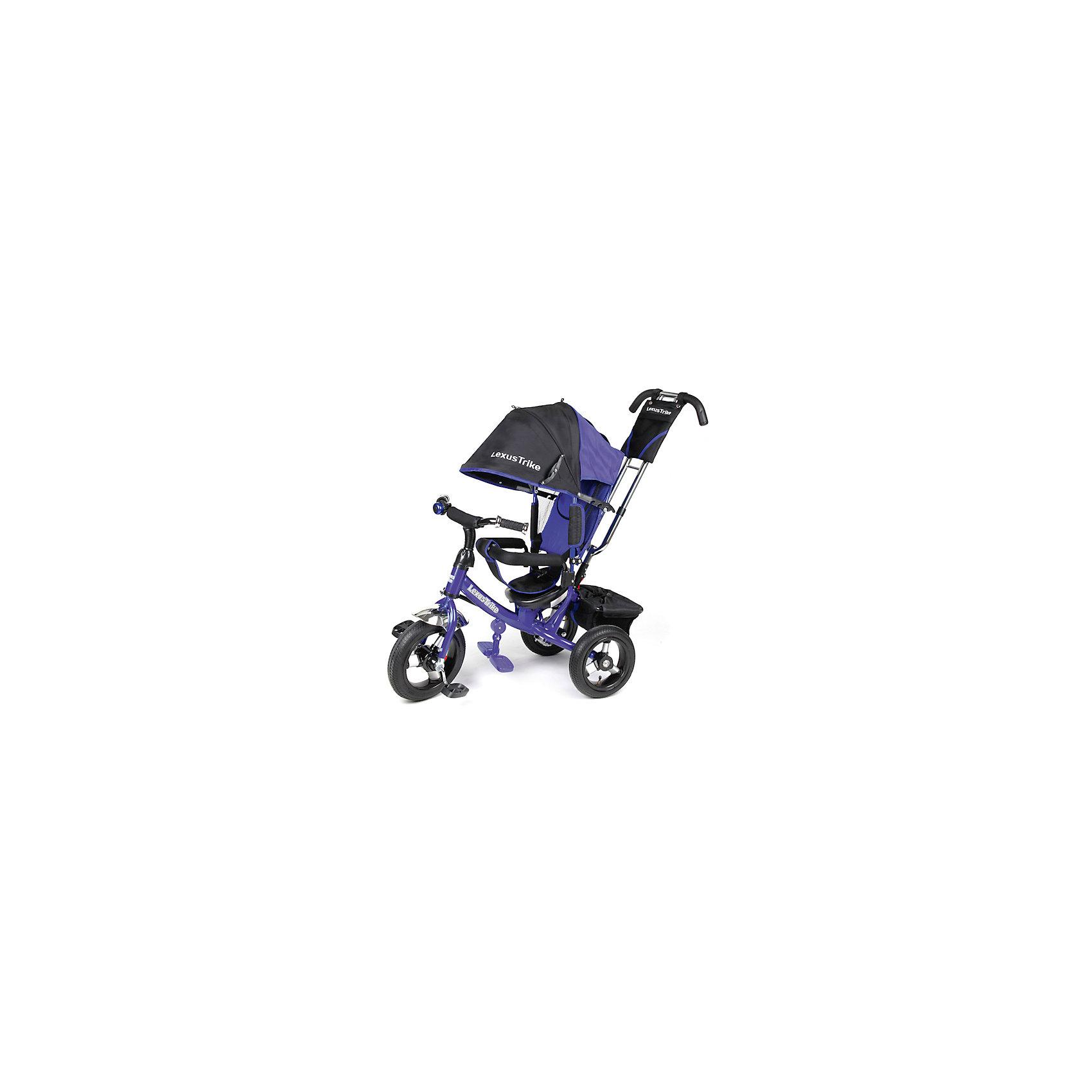 Трехколесный велосипед, с надувными колесами, синий,  Lexus TrikeТрехколесный велосипед Super Trike идеальный вариант для веселых и увлекательных прогулок! Большие надувные колеса (из вспененного полиуретана) с закрытым подшипником обеспечивают отличную проходимость и амортизацию. Для родителей предусмотрена специальная ручка с регулировкой высоты, которая помогает управлять велосипедом, меняя угол поворота переднего колеса. Пятиточечные ремни безопасности, съемный бампер и регулируемая спинка обеспечат комфорт и защиту для малышей. Большой складной капюшон с сетчатым окошком убережет кроху от солнца или же мелкого дождя, а  большие эргономичные подножки, предотвращающие соскальзывание ножек ребенка, обеспечат комфорт и удобство. Велосипед имеет тормоз на задних колесах и корзину для вещей или игрушек. Модель оснащена блок-фарой с мощными светодиодами и желтыми указателями поворота и музыкальным блоком для малышей. Велосипед выполнен из прочных материалов, все текстильные элементы изготовлены из влагоустойчивой ткани, которая легко стирается. <br><br>Дополнительная информация:<br><br>- Материал: металл, пластик, текстиль.<br>- Размер: 47 x 110 x 81 см.<br>- Количество колес: 3.<br>- Надувные колеса: d - 12 и 10 дюймов.<br>- Электронная панель на руле со звуком и светом<br>- Регулируемая по высоте родительская ручка, управляющая передним колесом.<br>- Бампер перед ребенком.<br>- Регулируемая спинка (3 положения).<br>- Пятиточечный ремень безопасности<br>- Складной капюшон с сетчатым окошком.<br>- Мягкий съемный чехол на сиденье.<br>- Складные подножки.<br>- Функция свободного колеса (при включении переключателя педали не вращаются во время движения).<br>- Надежный стояночный тормоз.<br>- Прочная багажная корзина.<br>- Бампер, капюшон, подножки, ручка съемные. <br>- Максимальный вес ребенка: 35 кг.<br><br>Трехколесный велосипед, с надувными колесами, синий,  Super Trike , можно купить в нашем магазине.<br><br>Ширина мм: 630<br>Глубина мм: 380<br>Высота мм: 300<br>Вес 
