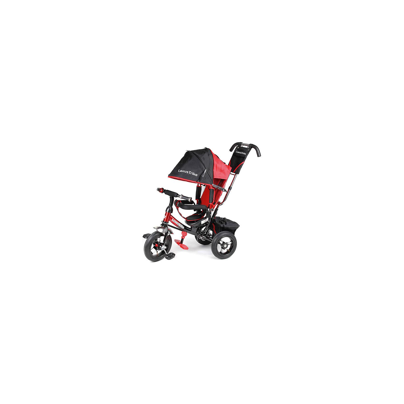 Трехколесный велосипед, с надувными колесами, красный+черный,  Lexus TrikeТрехколесный велосипед Super Trike идеальный вариант для веселых и увлекательных прогулок! Большие надувные колеса (из вспененного полиуретана) с закрытым подшипником обеспечивают отличную проходимость и амортизацию. Для родителей предусмотрена специальная ручка с регулировкой высоты, которая помогает управлять велосипедом, меняя угол поворота переднего колеса. Пятиточечные ремни безопасности, съемный бампер и регулируемая спинка обеспечат комфорт и защиту для малышей. Большой складной капюшон с сетчатым окошком убережет кроху от солнца или же мелкого дождя, а  большие эргономичные подножки, предотвращающие соскальзывание ножек ребенка, обеспечат комфорт и удобство. Велосипед имеет тормоз на задних колесах и корзину для вещей или игрушек. Модель оснащена блок-фарой с мощными светодиодами и желтыми указателями поворота и музыкальным блоком для малышей. Велосипед выполнен из прочных материалов, все текстильные элементы изготовлены из влагоустойчивой ткани, которая легко стирается. <br><br>Дополнительная информация:<br><br>- Материал: металл, пластик, текстиль.<br>- Размер: 47 x 110 x 81 см.<br>- Количество колес: 3.<br>- Надувные колеса: d - 12 и 10 дюймов.<br>- Электронная панель на руле со звуком и светом<br>- Регулируемая по высоте родительская ручка, управляющая передним колесом.<br>- Бампер перед ребенком.<br>- Регулируемая спинка (3 положения).<br>- Пятиточечный ремень безопасности<br>- Складной капюшон с сетчатым окошком.<br>- Мягкий съемный чехол на сиденье.<br>- Складные подножки.<br>- Функция свободного колеса (при включении переключателя педали не вращаются во время движения).<br>- Надежный стояночный тормоз.<br>- Прочная багажная корзина.<br>- Бампер, капюшон, подножки, ручка съемные. <br>- Максимальный вес ребенка: 35 кг.<br><br>Трехколесный велосипед, с надувными колесами, красный+черный, Super Trike , можно купить в нашем магазине.<br><br>Ширина мм: 300<br>Глубина мм: 630<br>Высот