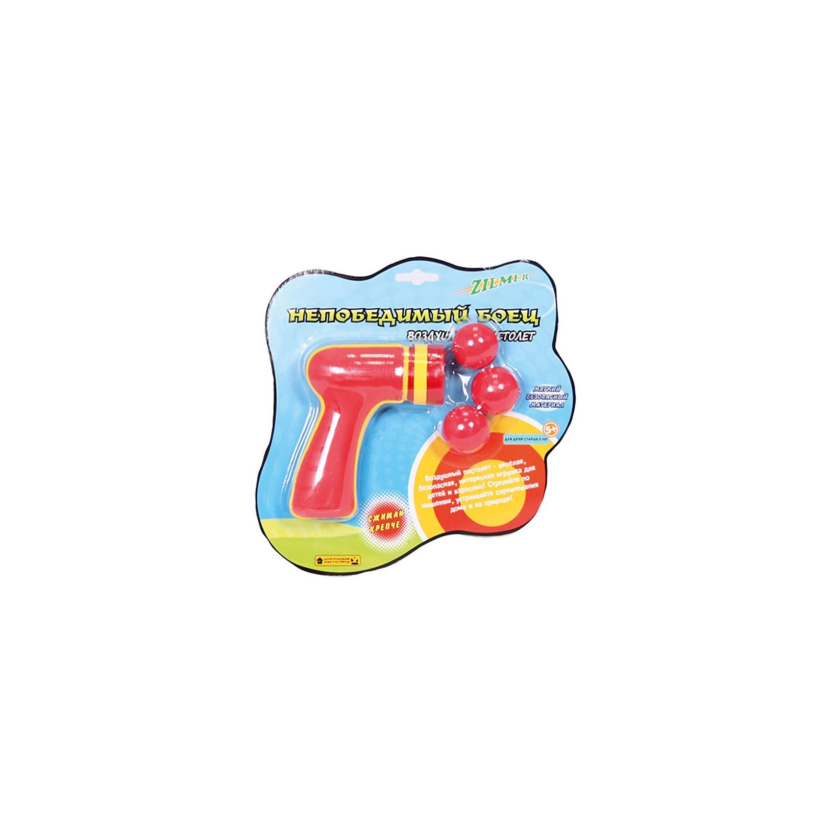 Воздушный пистолет Непобедимый боец (в комплекте три шарика), ZilmerВоздушный пистолет Непобедимый боец, Zilmer - прекрасный вариант для активных игр на улице. Пистолет выполнен в ярком красочном дизайне и имеет удобную эргономичную форму, хорошо помещается в руке. Стреляет мягкими безопасными шариками из качественного экологичного материала (в комплекте три шарика). Вставьте шарик в дуло пистолета и крепко сожмите ручку. Чем сильнее Вы сожмете воздушное оружие, тем выше и быстрее полетит пуля. Дальность стрельбы - до 8 метров. Игрушка развивает зрительно-тактильное восприятие, меткость, ловкость, внимательность и мелкую моторику.<br><br>Дополнительная информация:<br><br>- В комплекте: воздушный пистолет, 3 шарика.<br>- Материал: пластик, поролон Eva. <br>- Размер упаковки: 28 х 21 х 4 см.<br>- Вес: 79 гр.<br> <br>Воздушный пистолет Непобедимый боец (в комплекте три шарика), Zilmer, можно купить в нашем интернет-магазине.<br><br>Ширина мм: 285<br>Глубина мм: 215<br>Высота мм: 46<br>Вес г: 142<br>Возраст от месяцев: 36<br>Возраст до месяцев: 72<br>Пол: Мужской<br>Возраст: Детский<br>SKU: 4622207