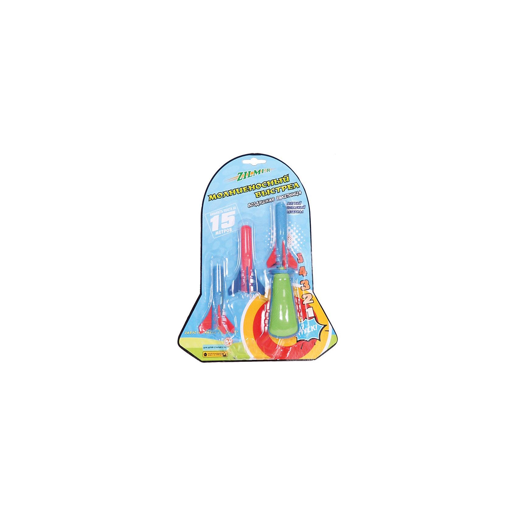 Воздушная ракетница Молниеносный выстрел, 3 ракеты, ZilmerИгрушечное оружие<br>Воздушная ракетница Молниеносный выстрел, Zilmer - прекрасный вариант для активных игр на улице. Набор выполнен в ярком красочном дизайне, ракетница имеет удобную форму и хорошо помещается в руке. Стреляет мягкими безопасными ракетами из качественного экологичного материала (в комплекте три ракеты). Вставьте ракету в ствол ракетницы и крепко сожмите ручку. Чем сильнее Вы сожмете воздушное оружие, тем выше и быстрее полетит патрон. Дальность стрельбы - до 10 метров. Игрушка развивает зрительно-тактильное восприятие, меткость, ловкость, внимательность и мелкую моторику.<br><br>Дополнительная информация:<br><br>- В комплекте: воздушная ракетница, 3 ракеты.<br>- Материал: пластик, поролон Eva. <br>- Длина ракеты: 9 см.<br>- Размер упаковки: 23 х 24 х 4,7 см.<br>- Вес: 104 гр.<br> <br>Воздушную ракетницу Молниеносный выстрел, 3 ракеты, Zilmer, можно купить в нашем интернет-магазине.<br><br>Ширина мм: 230<br>Глубина мм: 240<br>Высота мм: 47<br>Вес г: 104<br>Возраст от месяцев: 36<br>Возраст до месяцев: 72<br>Пол: Мужской<br>Возраст: Детский<br>SKU: 4622211