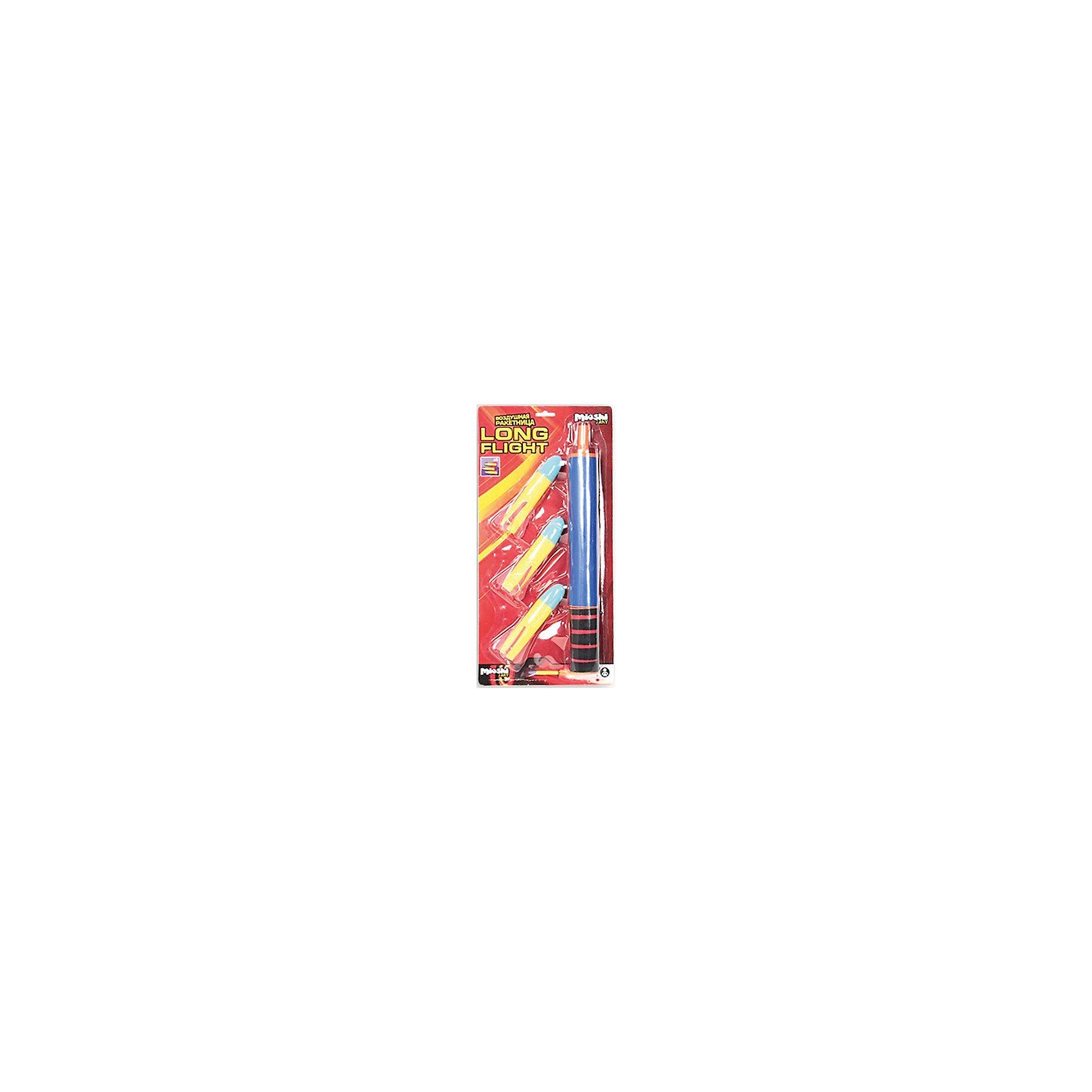 Игровой набор Long flight, Mioshi ArmyИгрушечное оружие<br>Игровой набор Long flight, Mioshi Army - прекрасный вариант для веселых активных игр на улице. В комплект входят ракетница и 3 ракеты для нее. Все предметы имеют яркий красочный дизайн и изготовлены из прочных качественных материалов. Ракетница легко стреляет - нужно лишь потянуть ее за нижнюю часть, предварительно зарядив патрон. Мягкие ракеты выполнены из безопасного материала Eva, а их наконечники - это присоски, которые прилипают к твёрдым поверхностям. Игрушка развивает зрительно-тактильное восприятие, меткость, ловкость, внимательность и мелкую моторику.<br><br>Дополнительная информация:<br><br>- В комплекте: воздушная ракетница, 3 ракеты.<br>- Игрушка работает без батареек.<br>- Материал: пластик, поролон Eva. <br>- Размер упаковки: 43 х 20,5 х 5 см.<br>- Вес: 0,257 кг.<br> <br>Игровой набор Long flight, Mioshi Army, можно купить в нашем интернет-магазине.<br><br>Ширина мм: 430<br>Глубина мм: 205<br>Высота мм: 58<br>Вес г: 257<br>Возраст от месяцев: 36<br>Возраст до месяцев: 72<br>Пол: Мужской<br>Возраст: Детский<br>SKU: 4622218