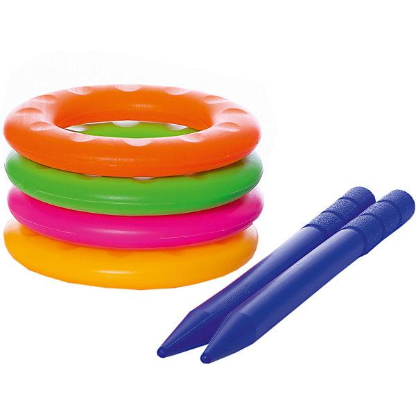 Игра детская Весёлые колечки, YG SportКольцебросы<br>Детская игра Весёлые колечки, YG Sport - прекрасный вариант для подвижных активных игр в помещении или на открытом воздухе. В комплект входят два колышка и четыре разноцветных кольца. Колышки выполнены из прочного пластика и имеют закруглённые, сглаженные концы. Цель игры - насадить на колышки как можно больше колечек. Набор компактен, удобен в хранении и транспортировке. Развивает координацию и моторику движений, меткость, ловкость и внимательность.<br><br>Дополнительная информация:<br><br>- В комплекте: 4 кольца, 2 колышка.<br>- Материал: пластик. <br>- Размер упаковки: 28 х 6 х 14 см.<br>- Вес: 118 гр.<br> <br>Детскую игру Весёлые колечки, YG Sport, можно купить в нашем интернет-магазине.<br>Ширина мм: 600; Глубина мм: 410; Высота мм: 630; Вес г: 118; Возраст от месяцев: 36; Возраст до месяцев: 72; Пол: Унисекс; Возраст: Детский; SKU: 4622238;