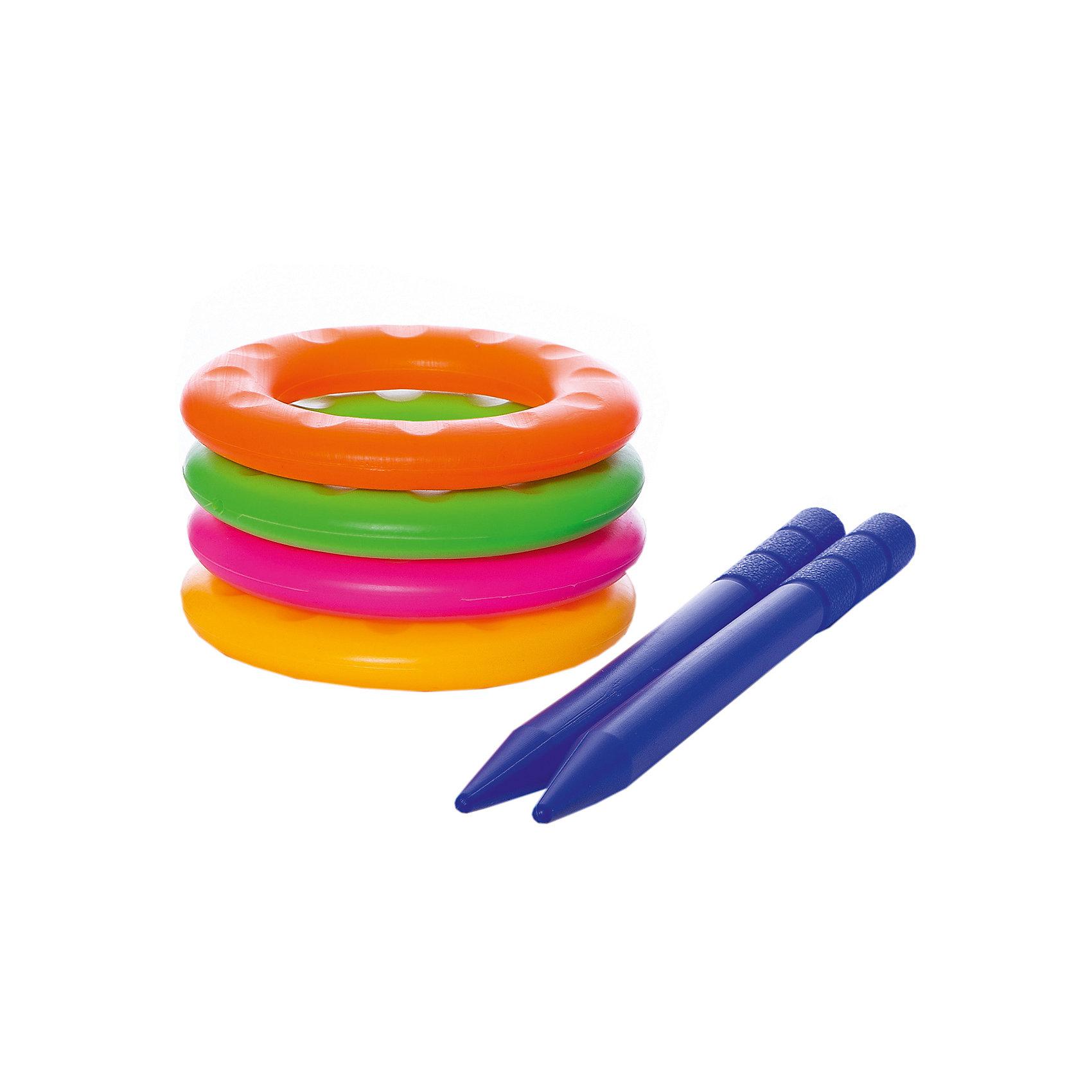 Игра детская Весёлые колечки, YG SportДетская игра Весёлые колечки, YG Sport - прекрасный вариант для подвижных активных игр в помещении или на открытом воздухе. В комплект входят два колышка и четыре разноцветных кольца. Колышки выполнены из прочного пластика и имеют закруглённые, сглаженные концы. Цель игры - насадить на колышки как можно больше колечек. Набор компактен, удобен в хранении и транспортировке. Развивает координацию и моторику движений, меткость, ловкость и внимательность.<br><br>Дополнительная информация:<br><br>- В комплекте: 4 кольца, 2 колышка.<br>- Материал: пластик. <br>- Размер упаковки: 28 х 6 х 14 см.<br>- Вес: 118 гр.<br> <br>Детскую игру Весёлые колечки, YG Sport, можно купить в нашем интернет-магазине.<br><br>Ширина мм: 600<br>Глубина мм: 410<br>Высота мм: 630<br>Вес г: 118<br>Возраст от месяцев: 36<br>Возраст до месяцев: 72<br>Пол: Унисекс<br>Возраст: Детский<br>SKU: 4622238