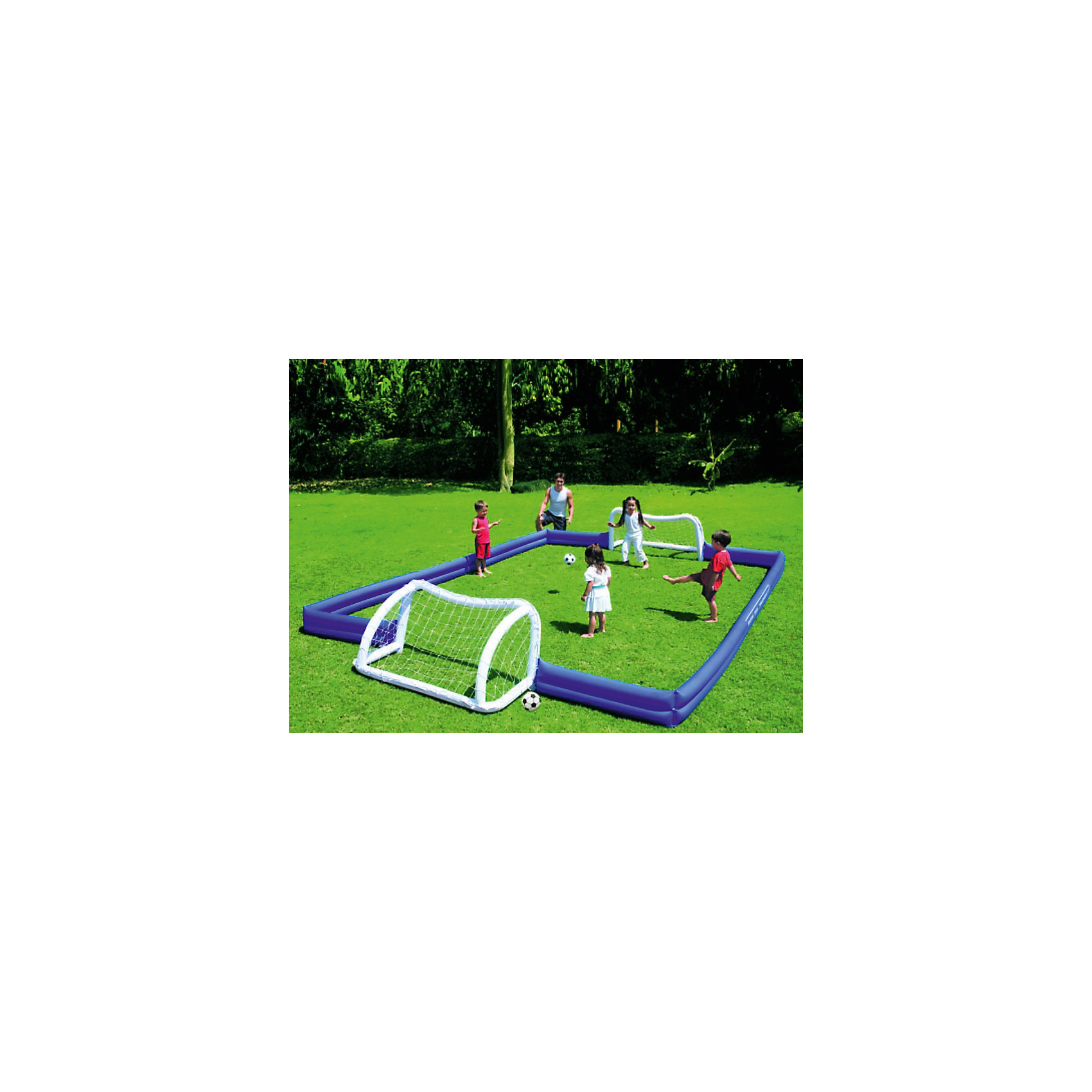 Набор для игры в футбол (поле+ворота+мячи), BestwayИгровые наборы<br>Набор для игры в футбол, Bestway, поможет разнообразить летний отдых и весело провести время на даче или на природе. В комплект входят надувные поле, ворота и мячи. Веселая подвижная игра надолго увлечет не только детей но и взрослых членов семьи. Всю конструкцию можно поместить на сушу или разместить в большом бассейне или открытом водоёме. Предметы наборы выполнены из прочного, высококачественного материала, легко надуваются при помощи ручного насоса. Занятия с мячом улучшают координацию движений, тренируют вестибулярный аппарат, укрепляют мышцы ног, рук и спины.<br><br>Дополнительная информация:<br><br>- В комплекте: надувное поле с 2 воротами, 2 мяча, колышки для фиксации, заплатка для ремонта, инструкция.<br>- Материал: полимер.<br>- Диаметр мяча: 36 см.<br>- Размеры изделия в собранном виде: 620 х 399 х 61 см.<br>- Размер упаковки: 42 х 28 х 42 см.<br>- Вес: 5,5 кг.<br><br>Набор для игры в футбол (поле+ворота+мячи), Bestway, можно купить в нашем интернет-магазине.<br><br>Ширина мм: 420<br>Глубина мм: 280<br>Высота мм: 420<br>Вес г: 5500<br>Возраст от месяцев: 36<br>Возраст до месяцев: 1188<br>Пол: Унисекс<br>Возраст: Детский<br>SKU: 4622243