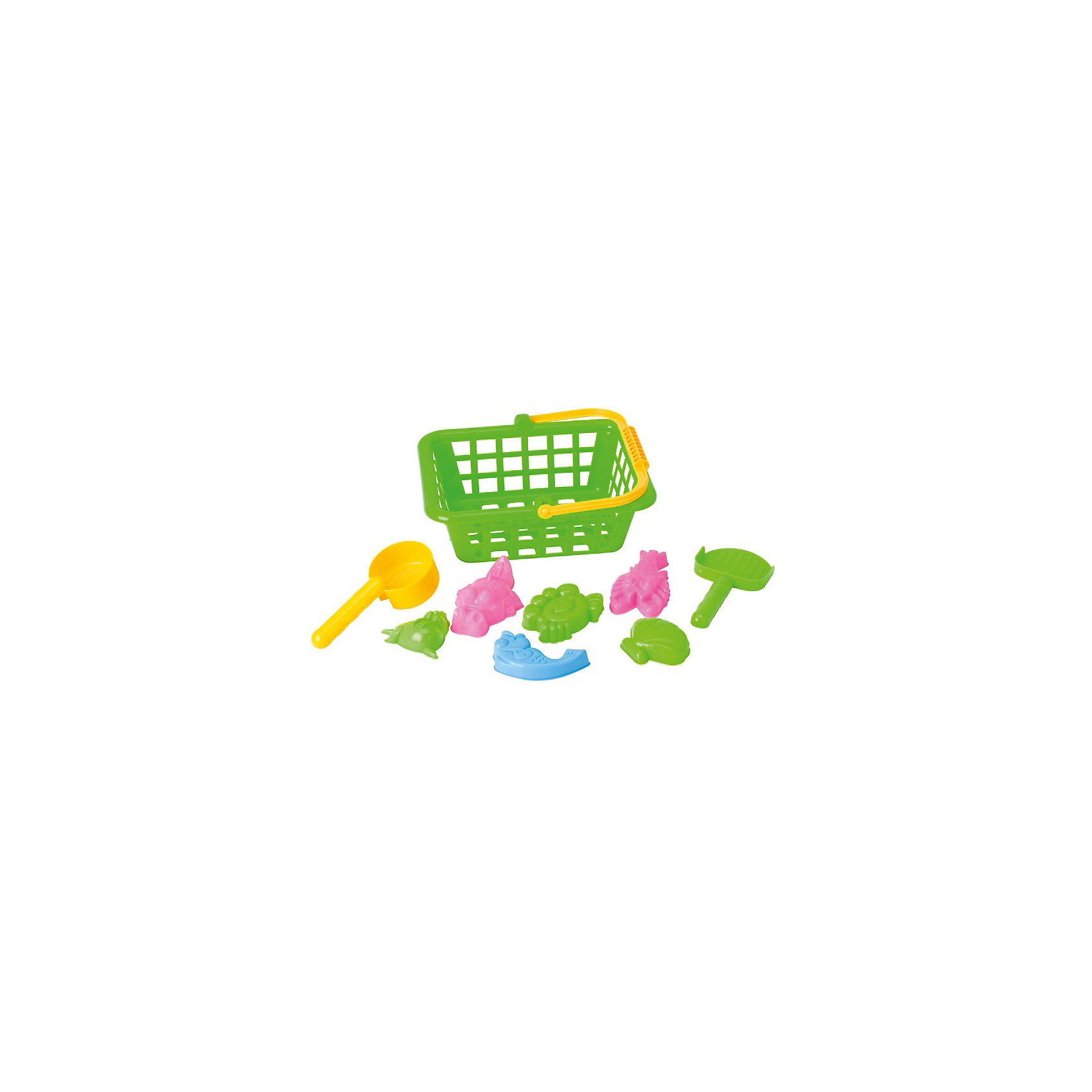 Игровой набор Жители моря, 8 предм., в корзинке, Hualian ToysИгровой набор Жители моря, Hualian Toys, порадует Вашего малыша и сделает игры в песочнице еще веселее и интереснее. В комплект входят лопатка, совок-сито, шесть симпатичных формочек в виде фигурок морских обитателей, а также вместительная корзинка с ручкой, куда можно сложить все игрушки. Забавные яркие формочки позволят воплотить в жизнь самые сложные задумки маленького скульптора. Лопатка и совок-сито эргономичной формы прекрасно подходят для маленьких детских ручек. Игрушки выполнены из высококачественного материла, отвечающего всем требованиям детской безопасности. Способствуют развитию тактильных ощущений, мелкой и крупной моторики рук ребёнка, а также его двигательной активности.<br><br>Дополнительная информация:        <br><br>- В комплекте: 6 формочек, лопатка, совок-сито, корзина.<br>- Материал: пластик. <br>- Размер упаковки: 28 х 13,5 х 11,5 см.<br>- Вес: 0,255 кг.<br><br>Игровой набор Жители моря, 8 предметов, в корзинке, Hualian Toys, можно купить в нашем интернет-магазине.<br><br>Ширина мм: 280<br>Глубина мм: 135<br>Высота мм: 115<br>Вес г: 255<br>Возраст от месяцев: 36<br>Возраст до месяцев: 72<br>Пол: Унисекс<br>Возраст: Детский<br>SKU: 4622255