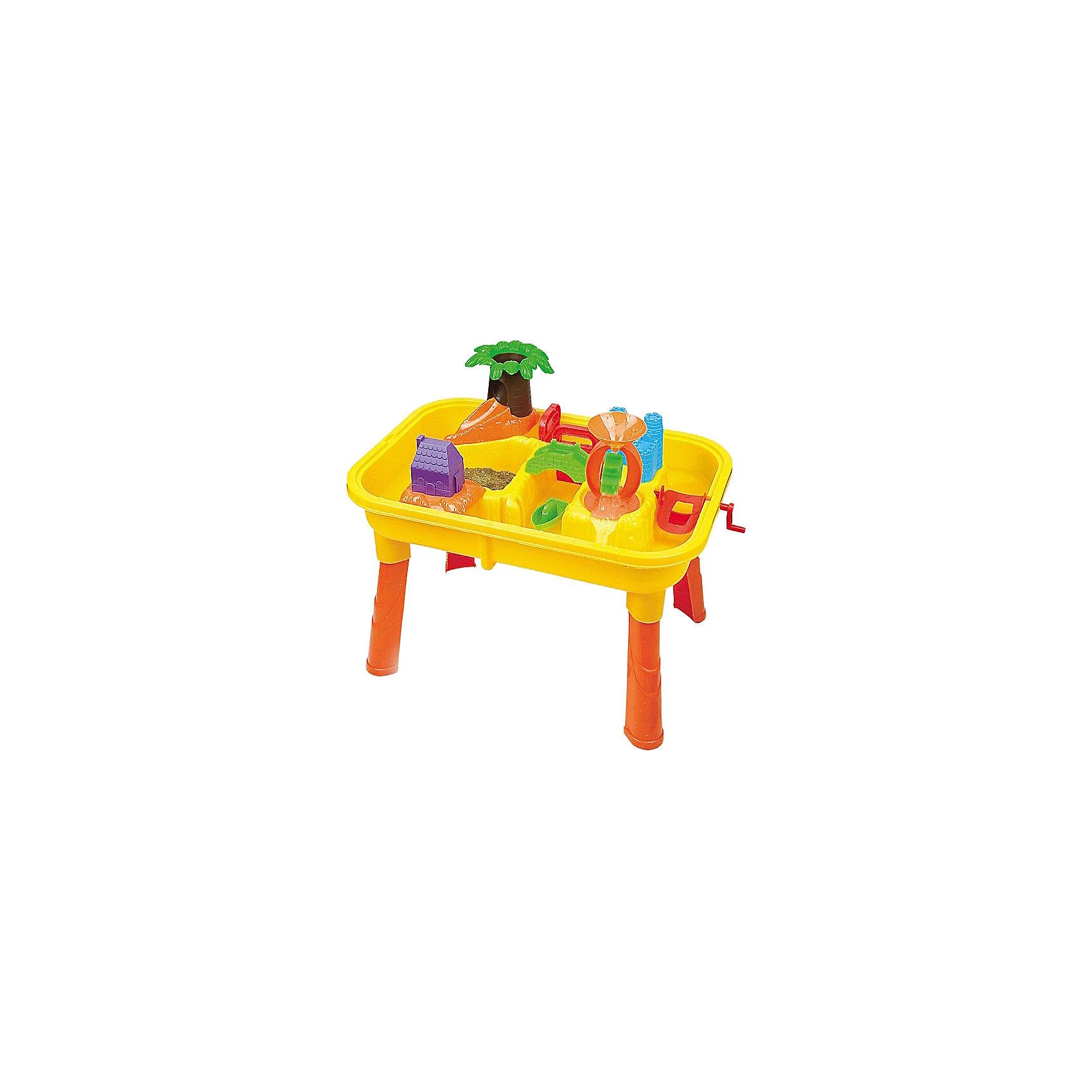 Стол для игр с песком и водой Джунгли, с аксессуарами, Hualian ToysСтол для игр с песком и водой Джунгли, Hualian Toys, вызовет восторг у Вашего малыша. Эта оригинальная игрушка разнообразит игры на открытом воздухе и поможет весело провести время на природе или на пляже. Столешница представляет из себя настоящие джунгли с пальмами, протоками, мостом, песочными берегами и кораблем исследователей. Вода, льющаяся сквозь тоннель, крутит колесо, которое распределяет воду в верхнюю и нижнюю гавань. Благодаря надежным креплениям, столик легко собирается, а сняв ножки, Вы сможете быстро превратить его в песочницу. В комплект входят множество дополнительных деталей, которые превратят игру в настоящее захватывающее приключение: фигурки кораблей, формочки, листья пальмы, лопатка, ковшик и другие интересные для ребенка предметы. Игрушка выполнена из экологически чистого и высококачественного материала, не содержащего в составе вредных красителей. <br><br>Дополнительная информация:        <br><br>- В комплекте: стол, ковшик, стакан, 2 кораблика, черпак, лопатка-грабли, 2 пробки, 3 формочки, держатель, листья дерева, ствол дерева, слайд, толкатель для воды, ручной толкатель для воды, водяное колесо, 2 вкладыша.<br>- Материал: пластик. <br>- Размер упаковки: 62 х 16 х 42 см.<br>- Вес: 3,13 кг.<br><br>Стол для игр с песком и водой Джунгли, с аксессуарами, Hualian Toys, можно купить в нашем интернет-магазине.<br><br>Ширина мм: 620<br>Глубина мм: 160<br>Высота мм: 420<br>Вес г: 3130<br>Возраст от месяцев: 36<br>Возраст до месяцев: 72<br>Пол: Унисекс<br>Возраст: Детский<br>SKU: 4622256