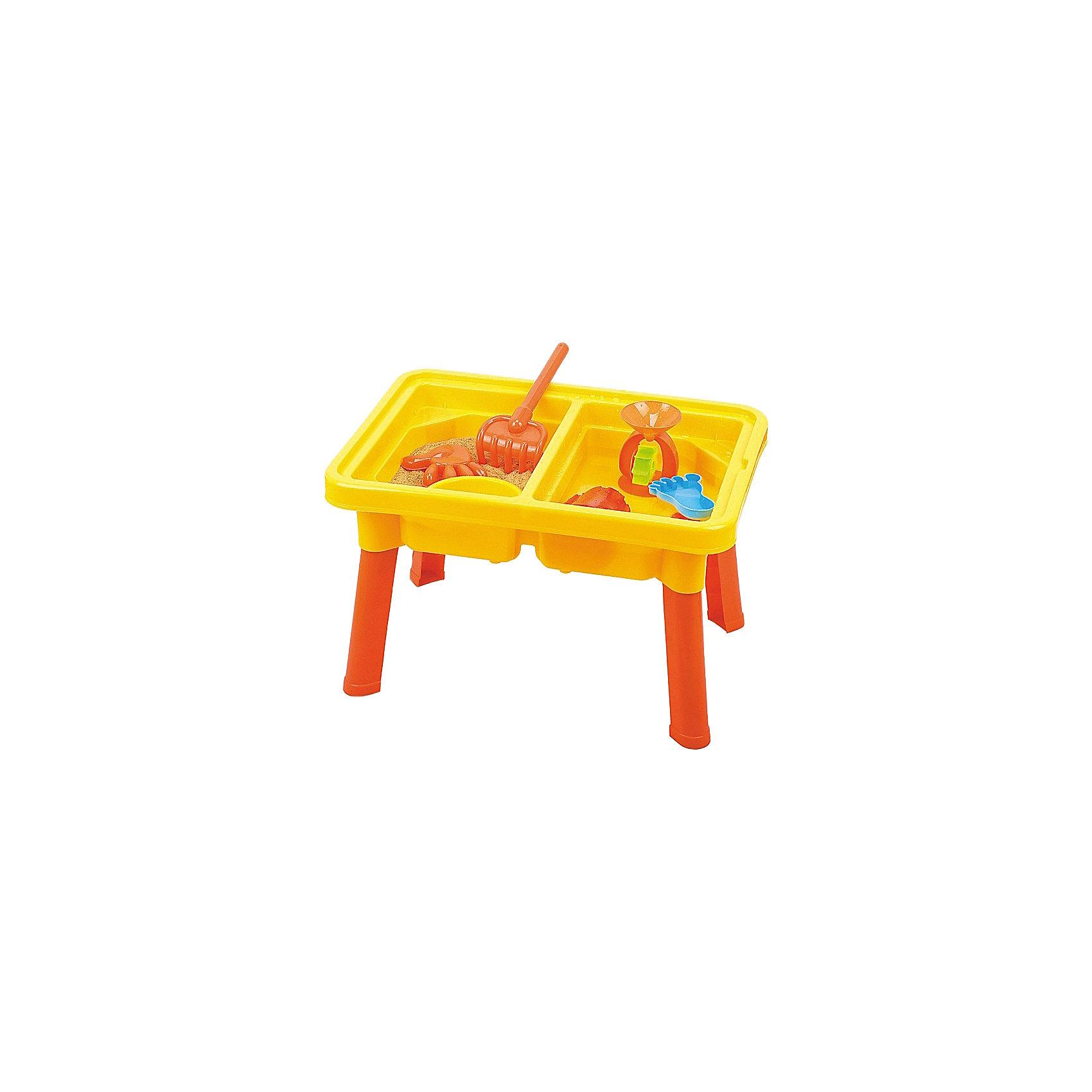 Стол для игр с песком и водой Водяная круговерть, с крышкой, стулом и аксессурами, Hualian ToysИграем в песочнице<br>Стол для игр с песком и водой Водяная круговерть, Hualian Toys, вызовет восторг у Вашего малыша. Эта оригинальная игрушка разнообразит игры на открытом воздухе и поможет весело провести время на природе или на пляже. Удобная столешница с углублениями представляет из себя прекрасное игровое поле для множества увлекательных игр с песком и водой. Благодаря съемной крышке, конструкцию можно использовать и как стол для рисования или творчества. Также за столом малыш сможет пообедать на свежем воздухе, удобно расположившись на стуле. В комплект входят разнообразные игровые элементы, которые сделают игру еще интереснее: водяное колесо, стакан, формочки, лопатка, грабли и другие предметы. Игрушка выполнена из экологически чистого и высококачественного материала, не содержащего в составе вредных красителей. <br><br>Дополнительная информация:        <br><br>- В комплекте: стол, крышка для стола, стул, 1 водяное колесо, 1 ведро, 1 стакан, 1 решето, 2 формочки, 1 лопата, 1 грабли, 2 вкладыша.<br>- Материал: пластик. <br>- Размер упаковки: 58 х 14,6 х 41,5 см.<br>- Вес: 3,46 кг.<br><br>Стол для игр с песком и водой Водяная круговерть, с аксессуарами, Hualian Toys, можно купить в нашем интернет-магазине.<br><br>Ширина мм: 580<br>Глубина мм: 146<br>Высота мм: 415<br>Вес г: 3460<br>Возраст от месяцев: 36<br>Возраст до месяцев: 72<br>Пол: Унисекс<br>Возраст: Детский<br>SKU: 4622259