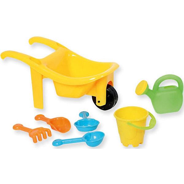 Набор №1 для игр с песком и водой7 в 1, ALTACTOИграем в песочнице<br>Набор №1 для игр с песком и водой 7 в 1, Altacto, порадует Вашего малыша и сделает игры в песочнице еще веселее и интереснее. В комплект входят красочная тачка с функциональным колесиком и фиксатором положения конструкции, грабли, совки, ведерко и лейка. Все предметы имеют эргономичную форму, удобную для захвата маленькой детской ручкой. Тачка оснащена просторным кузовом, который вместит в себя большой объем песка. Совки, грабли, ведерко и лейка прекрасно подходят для строительства сказочных замков или для садовых работ. Набор выполнен из качественного и прочного материала, не содержащего в составе вредных красителей. Способствует развитию тактильных ощущений, мелкой и крупной моторики, а также двигательной активности ребенка.<br><br>Дополнительная информация:        <br><br>- В комплекте: тачка, 3 совка, 1 грабли, 1 ведерко, 1 лейка.<br>- Материал: пластик. <br>- Размер упаковки: 14 х 12,5 х 27 см.<br>- Вес: 0,194 кг.<br><br>Набор №1 для игр с песком и водой 7 в 1, Altacto, можно купить в нашем интернет-магазине.<br>Ширина мм: 270; Глубина мм: 125; Высота мм: 140; Вес г: 194; Возраст от месяцев: 36; Возраст до месяцев: 72; Пол: Унисекс; Возраст: Детский; SKU: 4622265;