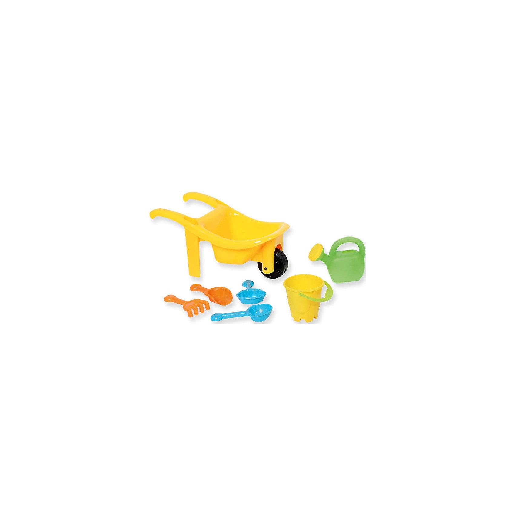 Набор №1 для игр с песком и водой7 в 1, ALTACTOНабор №1 для игр с песком и водой 7 в 1, Altacto, порадует Вашего малыша и сделает игры в песочнице еще веселее и интереснее. В комплект входят красочная тачка с функциональным колесиком и фиксатором положения конструкции, грабли, совки, ведерко и лейка. Все предметы имеют эргономичную форму, удобную для захвата маленькой детской ручкой. Тачка оснащена просторным кузовом, который вместит в себя большой объем песка. Совки, грабли, ведерко и лейка прекрасно подходят для строительства сказочных замков или для садовых работ. Набор выполнен из качественного и прочного материала, не содержащего в составе вредных красителей. Способствует развитию тактильных ощущений, мелкой и крупной моторики, а также двигательной активности ребенка.<br><br>Дополнительная информация:        <br><br>- В комплекте: тачка, 3 совка, 1 грабли, 1 ведерко, 1 лейка.<br>- Материал: пластик. <br>- Размер упаковки: 14 х 12,5 х 27 см.<br>- Вес: 0,194 кг.<br><br>Набор №1 для игр с песком и водой 7 в 1, Altacto, можно купить в нашем интернет-магазине.<br><br>Ширина мм: 270<br>Глубина мм: 125<br>Высота мм: 140<br>Вес г: 194<br>Возраст от месяцев: 36<br>Возраст до месяцев: 72<br>Пол: Унисекс<br>Возраст: Детский<br>SKU: 4622265