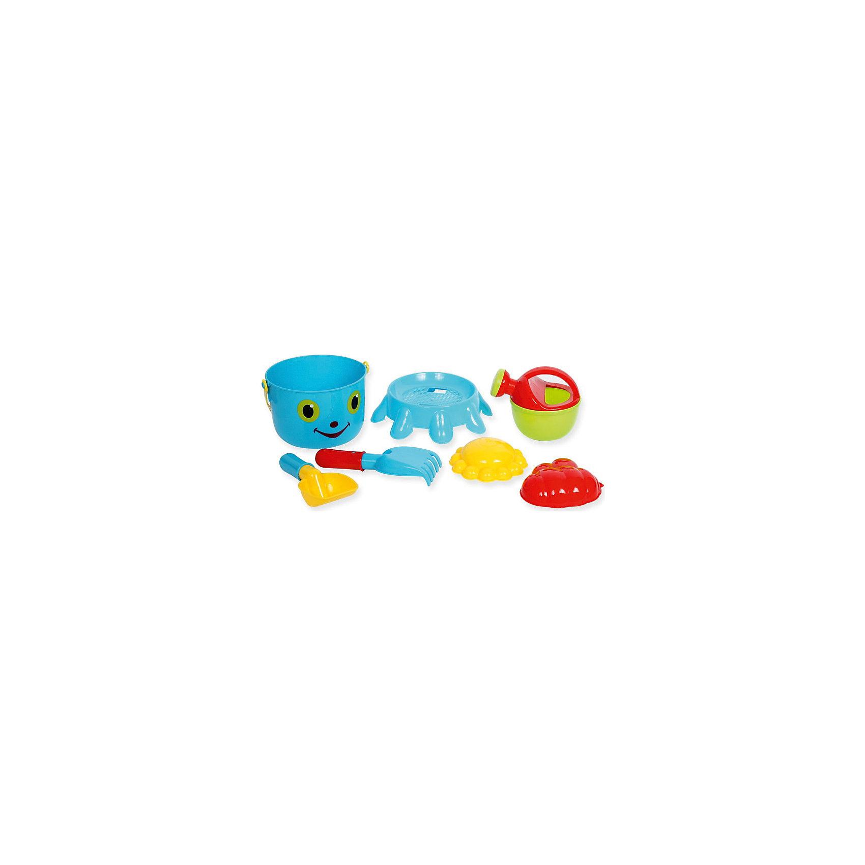 Набор №2 для игр с песком и водой7 в 1, ALTACTOИгра с песком - одна из самых любимых забав у малышей. А с красочными игрушками для песочницы любимое занятие станет еще веселее и интереснее. В набор № 2 для игр с песком и водой 7 в 1, Altacto, входят две формочки, ведёрко в виде осьминожки с забавной мордочкой, сито, лейка, совок и грабли. Все предметы имеют эргономичную форму, удобную для захвата маленькой детской ручкой. Ведерко со съемным основанием, совок, грабли и лейка прекрасно подходят для строительства сказочных замков или для садовых работ. А с помощью ярких формочек получатся симпатичные фигурки-куличики. Набор выполнен из качественного и прочного материала, не содержащего в составе вредных красителей. Способствует развитию тактильных ощущений, мелкой и крупной моторики, а также двигательной активности ребенка.<br><br>Дополнительная информация:        <br><br>- В комплекте: 2 формочки, 1 ведерко, 1 сито, 1 лейка. 1 грабли, 1 совок.<br>- Материал: пластик. <br>- Размер упаковки: 19 х 19 х 22 см.<br>- Вес: 0,27 кг.<br><br>Набор № 2 для игр с песком и водой 7 в 1, Altacto, можно купить в нашем интернет-магазине.<br><br>Ширина мм: 190<br>Глубина мм: 190<br>Высота мм: 220<br>Вес г: 270<br>Возраст от месяцев: 36<br>Возраст до месяцев: 72<br>Пол: Унисекс<br>Возраст: Детский<br>SKU: 4622266