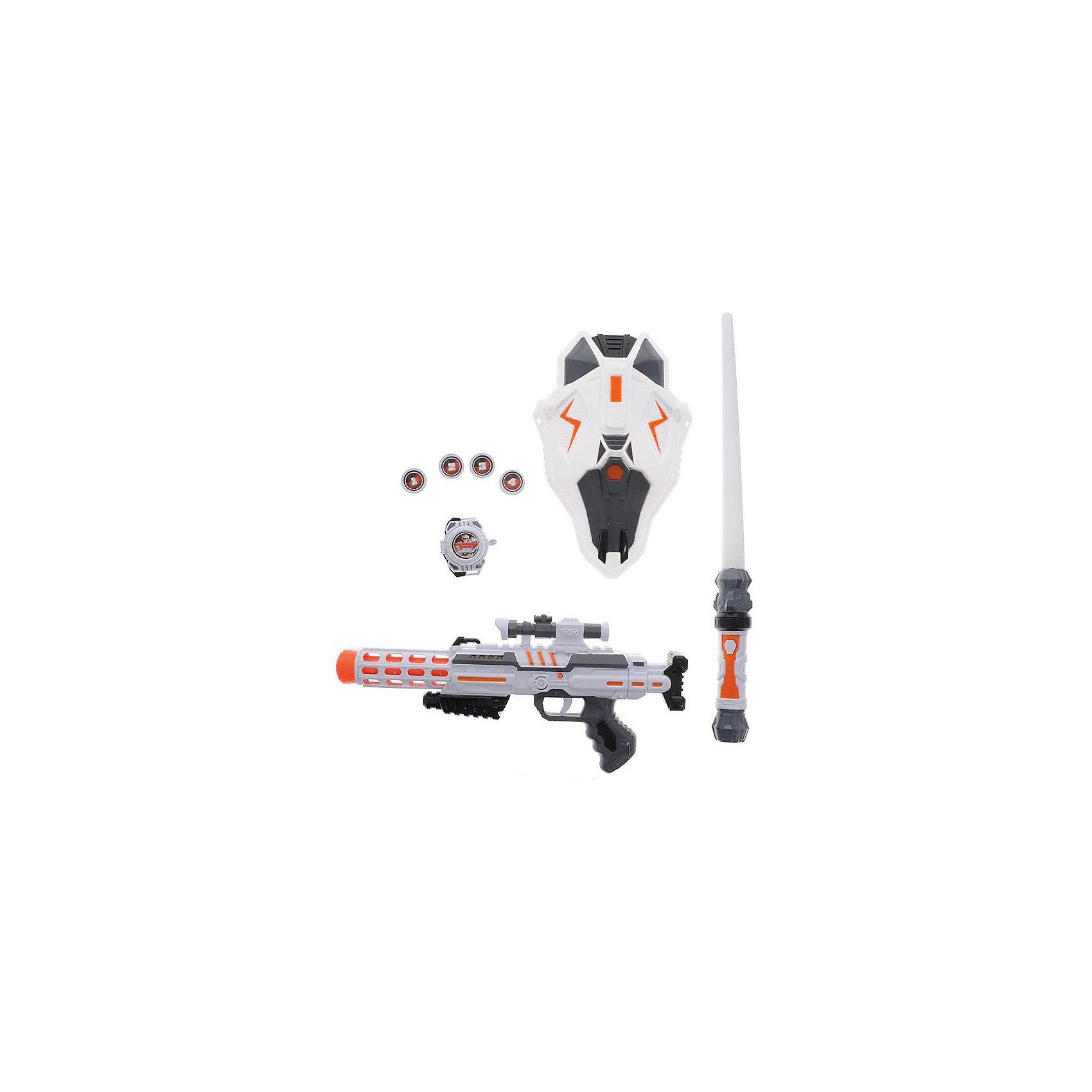 Набор пехотинца (1 бластер, 1 меч, 1 шлем, 1 часы, 4 фишки ), Космический десант, свет, звук, ABtoys
