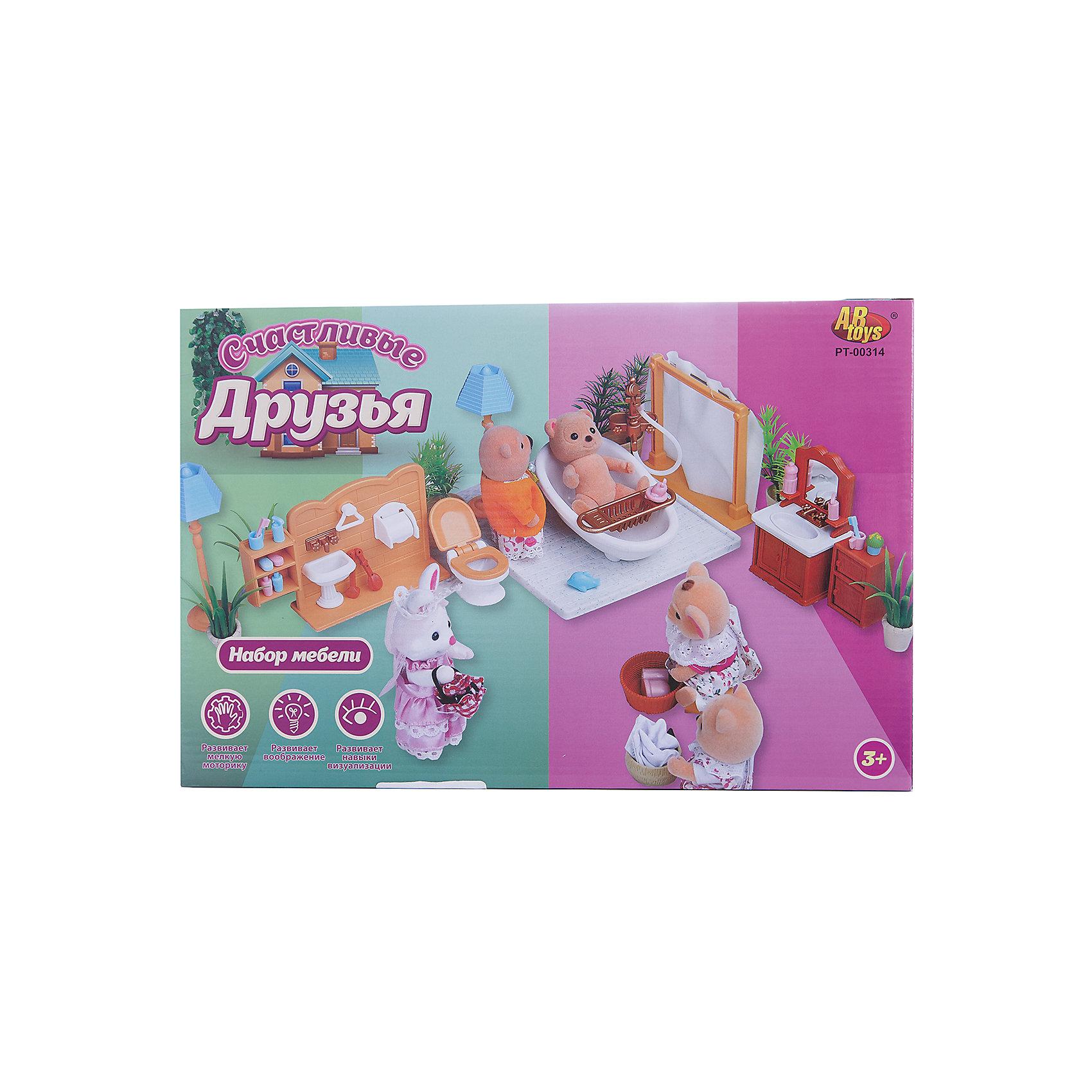Набор мебели для ванной, с аксессурами, Счастливые друзья, ABtoys от myToys