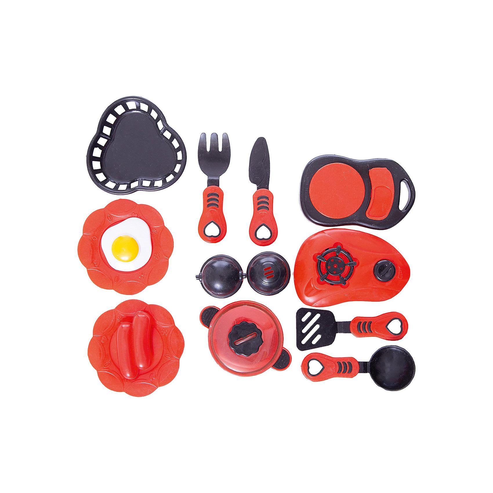 Набор посуды для кухни с продуктами №2, 14 предм., Помогаю маме, ABtoysПосуда и аксессуары для детской кухни<br>Набор посуды для кухни с продуктами №2, 14 предм., Помогаю маме, ABtoys (АБтойс) – набор поможет девочке освоить навыки хорошей хозяйки.<br>Набор содержит все необходимое для приготовления блюд и организации обеда для кукол. В него входят плитка для разогрева еды, весы, столовые приборы, кастрюля, сковорода, солонка и перечница, а также муляжи яичницы. Каждый из предметов выполнен из пластика красного и черного цвета и выглядит очень привлекательно и реалистично. Их удобно держать в руках. С таким набором малышка обязательно станет настоящей хозяйкой и сможет помогать маме на кухне. Комплект изготовлен из высококачественного пластика особой прочности, поэтому ему не страшны удары и падения.<br><br>Дополнительная информация:<br><br>- В наборе 14 предметов: плитка, весы, кастрюлька с крышкой, сковорода с крышкой, солонка, перечница, ножик, черпачок, лопатка, вилка, 2 яичницы<br>- Цвет: красный, черный, белый, желтый<br>- Материал: пластик<br>- Упаковка: сетка<br>- Размер упаковки: 16х15х9 см.<br>- Вес: 141 гр.<br><br>Набор посуды для кухни с продуктами №2, 14 предм., Помогаю маме, ABtoys (АБтойс) можно купить в нашем интернет-магазине.<br><br>Ширина мм: 165<br>Глубина мм: 150<br>Высота мм: 90<br>Вес г: 141<br>Возраст от месяцев: 36<br>Возраст до месяцев: 84<br>Пол: Женский<br>Возраст: Детский<br>SKU: 4622663