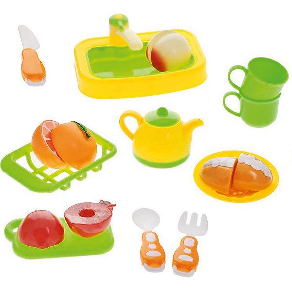 Набор посуды для кухни с продуктами, 18 предм., Помогаю маме, ABtoysДетские кухни<br>Набор посуды для кухни с продуктами, 18 предм., Помогаю маме, ABtoys (АБтойс) – набор поможет девочке освоить навыки хорошей хозяйки.<br>С этим игровым набором ваша девочка узнает не только правила работы с ножом, но и выучит цвета и формы различных видов продуктов, научится навыкам сервировки и почувствует себя настоящей маминой помощницей. В комплект входит пластиковая посуда, а также муляжи продуктов (две половинки игрушек соединены липучкой), которые можно разрезать на части при помощи пластикового ножа. В процессе игры у ребенка тренируется усидчивость и мелкая моторика.<br><br>Дополнительная информация:<br><br>- В наборе 18 предметов: посуда, разделочная доска, столовые приборы, раковина с краном, муляжи продуктов<br>- Материал: пластик<br>- Размер упаковки: 43,5x30x8,2см.<br>- Вес: 458 гр.<br><br>Набор посуды для кухни с продуктами, 18 предм., Помогаю маме, ABtoys (АБтойс) можно купить в нашем интернет-магазине.<br><br>Ширина мм: 435<br>Глубина мм: 300<br>Высота мм: 82<br>Вес г: 458<br>Возраст от месяцев: 36<br>Возраст до месяцев: 84<br>Пол: Женский<br>Возраст: Детский<br>SKU: 4622664