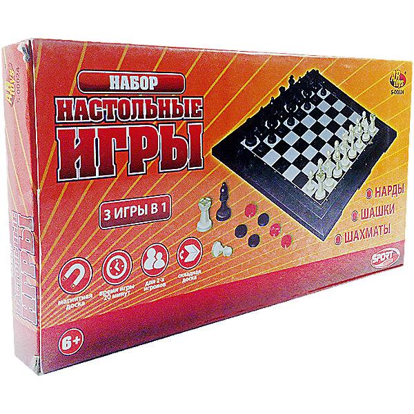 Набор игр 3 в 1 Шахматы, шашки, нарды магнитные, в коробке, ABtoysСпортивные настольные игры<br>Набор игр 3 в 1 Шахматы, шашки, нарды магнитные, в коробке, ABtoys (АБтойс) - это набор интеллектуальных игр для всей семьи.<br>Логические настольные игры очень важны для гармоничного развития детей, ведь они помогают ребенку не только увлекательно провести время, но при этом стать внимательнее. Шахматы помогут улучшить усидчивость крохи, шашки – целеустремленность, а нарды помогут развить пространственное мышление и координацию движений. Таким образом, в одной коробке собраны сразу несколько вариантов проведения детского досуга, который будет веселым и полезным. Коробка с набором не занимает много места и легко уместится в любой дорожной сумке. Элементы набора окрашены нетоксичными красителями, которые долгое время не стираются с их поверхности и сохраняют первоначальный цвет. Изготовлен из высококачественного пластика особой прочности, поэтому ему не страшны удары и падения.<br><br>Дополнительная информация:<br><br>- В наборе: двусторонняя магнитная доска, 30 шашек и 32 шахматные фигурки на магнитах, два кубика.<br>- Материал: пластик, магниты<br>- Средняя высота шахматной фигуры: 3,5 см.<br>- Диаметр шашки: 1,5 см.<br>- Размер игровой доски: 28,5 x 29 см.<br>- Упаковка: яркая подарочная коробка<br>- Размер упаковки: 29х15х3,5 см.<br>- Вес: 431 гр.<br><br>Набор игр 3 в 1 Шахматы, шашки, нарды магнитные, в коробке, ABtoys (АБтойс) можно купить в нашем интернет-магазине.<br><br>Ширина мм: 290<br>Глубина мм: 150<br>Высота мм: 35<br>Вес г: 431<br>Возраст от месяцев: 36<br>Возраст до месяцев: 1188<br>Пол: Унисекс<br>Возраст: Детский<br>SKU: 4622668