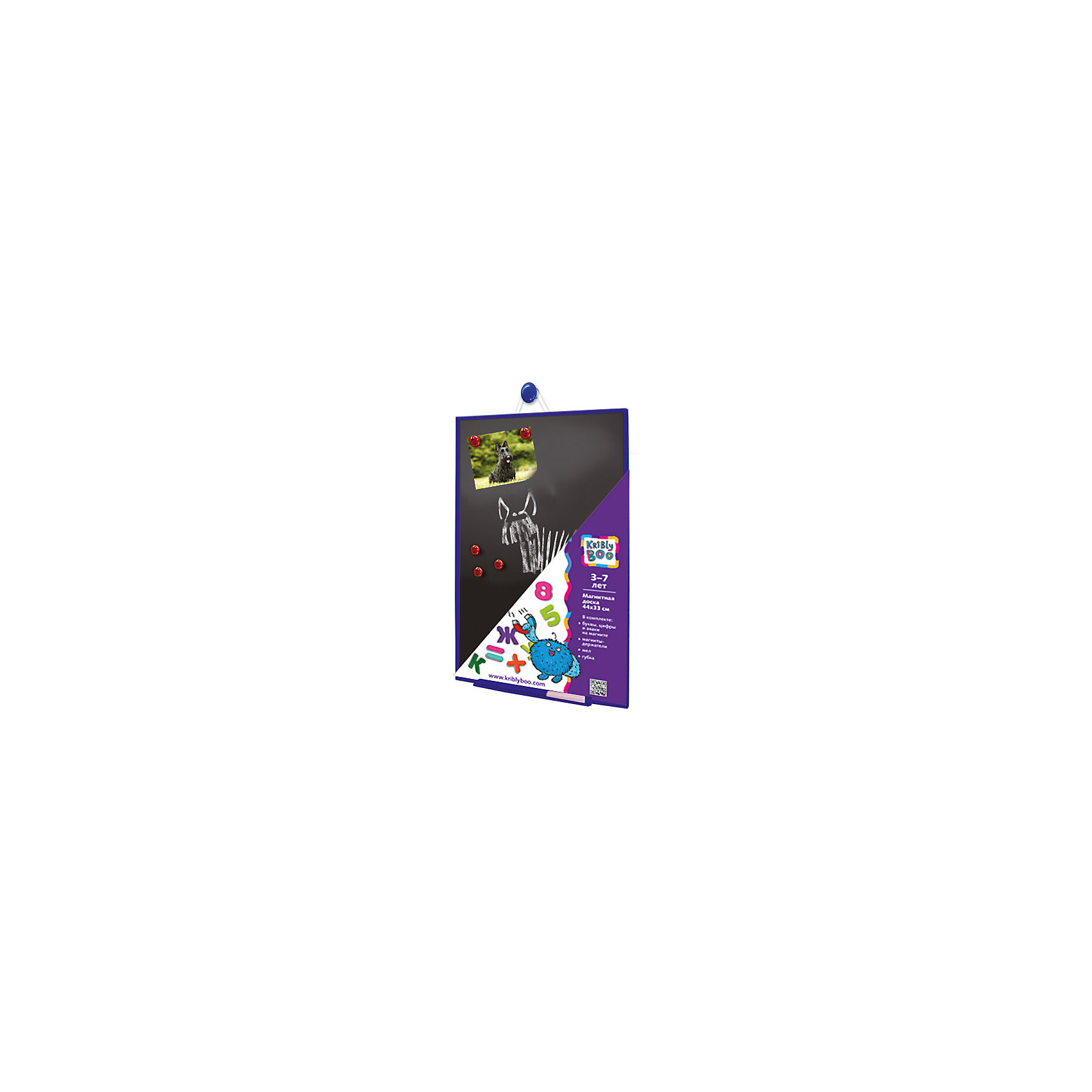 Магнитная доскачерная,44х33смХарактеристики товара:<br><br>• цвет: черный<br>• материал: металл, полимер<br>• размер: 44х33 см<br>• вес: 500 г<br>• комплектация: магнитная доска, комплекта магнитных букв русского алфавита, 20 цифр, математические знаки, набор белого мела, губка для вытирания, подставка для мела<br>• можно вешать горизонтально или вертикально<br>• возраст: от трех лет<br>• страна бренда: Финляндия<br>• страна изготовитель: Китай<br><br>Такая доска сделает учебу легче и интереснее! Доска дополнена возможностью вешать ее как в вертикальном, так и в горизонтальном положении. С помощью неё ребенок легко освоит алфавит, счет и математические действия, а также будет тренировать внимательность, абстрактное мышление, логику, усидчивость. Комплект будет полезен собирающимся идти в школу, а также младшим школьникам. <br>Доска выпущена в удобном формате, со всеми необходимыми предметами в наборе. Изделие производится из качественных и проверенных материалов, которые безопасны для детей.<br><br>Магнитную доску черную 44х33 см от бренда KriBly Boo можно купить в нашем интернет-магазине.<br><br>Ширина мм: 440<br>Глубина мм: 360<br>Высота мм: 30<br>Вес г: 500<br>Возраст от месяцев: 36<br>Возраст до месяцев: 84<br>Пол: Унисекс<br>Возраст: Детский<br>SKU: 4623190