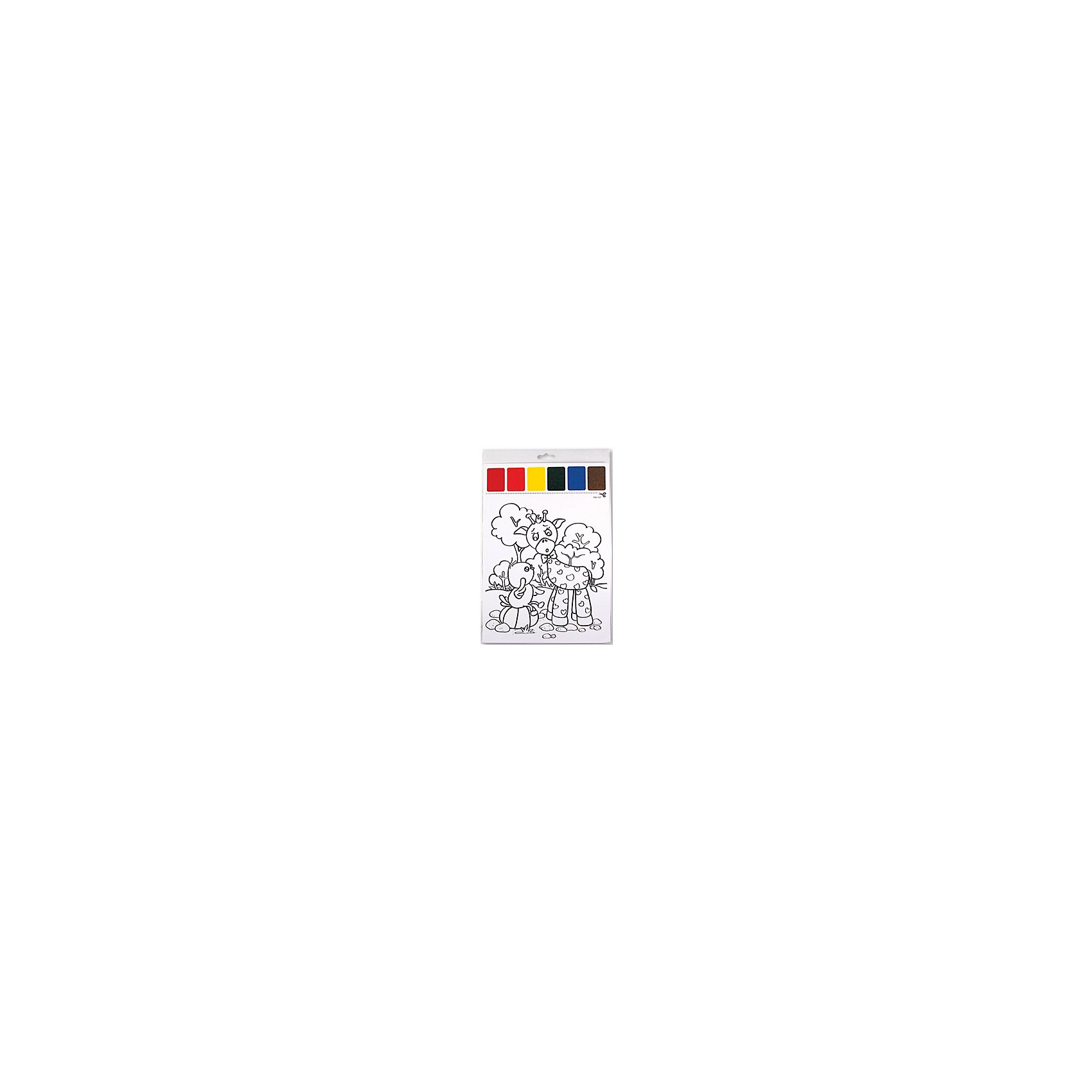 НабордляраскрашиванияакварельюВерныедрузья,скисточкойНабор для раскрашивания акварелью Верные друзья, с кисточкой - это увлекательный набор для творчества.<br>С помощью набора для раскрашивания акварелью Верные друзья ваш малыш  создаст яркую картину с изображением забавного жирафа и цыпленка. Ребенок получит истинное удовольствие от погружения в процесс творчества, а созданная им картина, украсит интерьер дома или станет прекрасным подарком. Набор для раскрашивания Верные друзья прекрасно развивает художественный вкус, аккуратность и внимание. Набор удобно брать с собой в дорогу, он не займет много места, все что вам потребуется – это немного воды.<br><br>Дополнительная информация:<br><br>- В наборе: картинка для раскрашивания с палитрой красок (29х21 см), кисточка<br>- Количество красок: 6<br>- Материал: бумага<br>- Размер упаковки:32х21,5 см.<br><br>Набор для раскрашивания акварелью Верные друзья, с кисточкой можно купить в нашем интернет-магазине.<br><br>Ширина мм: 320<br>Глубина мм: 215<br>Высота мм: 3<br>Вес г: 17<br>Возраст от месяцев: 36<br>Возраст до месяцев: 84<br>Пол: Унисекс<br>Возраст: Детский<br>SKU: 4623194