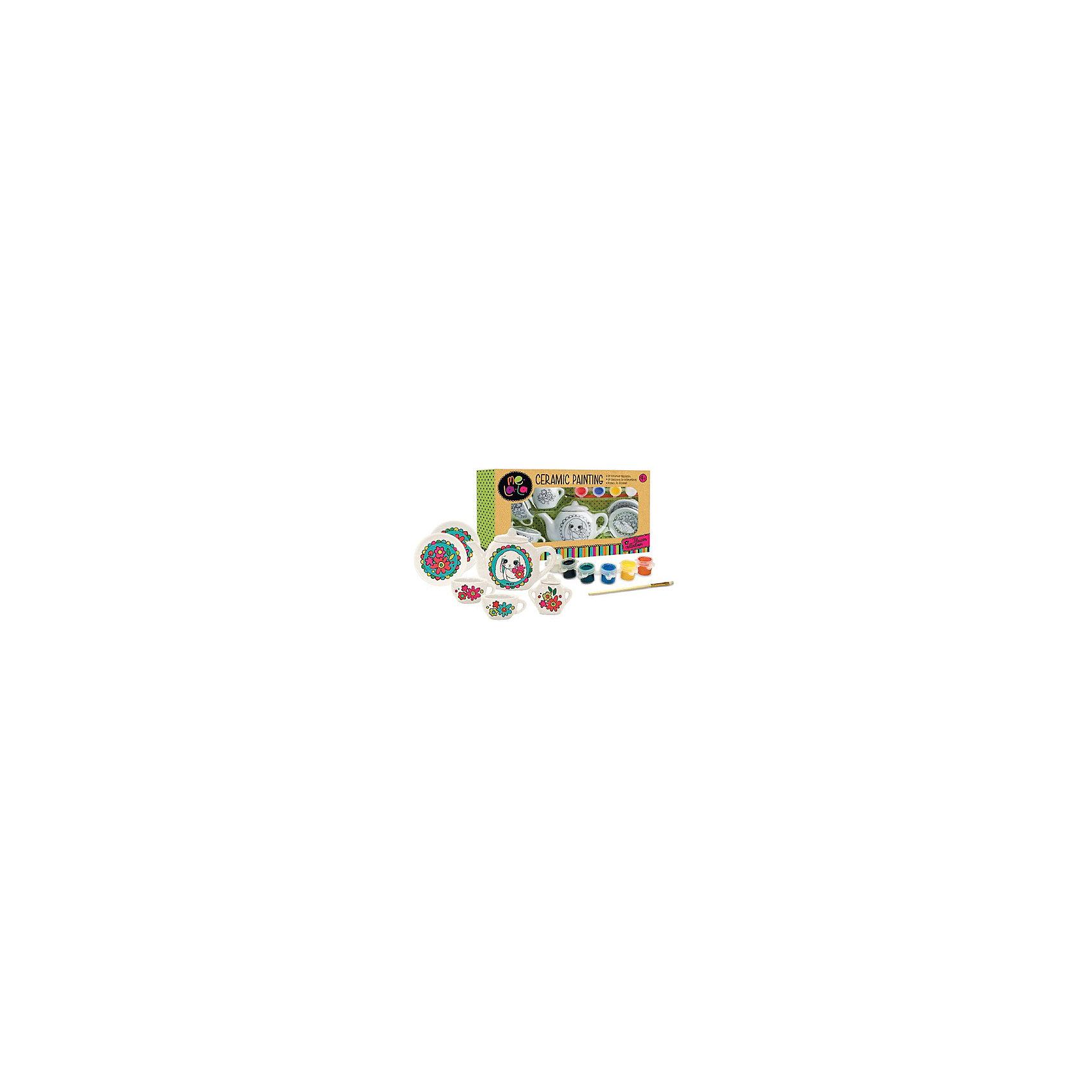 Роспись покерамикеМилыедрузьяРоспись по керамике Милые друзья – это увлекательный набор для творчества.<br>В этом замечательном наборе есть все необходимое для самостоятельной росписи керамического чайного сервиза, в который входит чайник, чашки с блюдцами и сахарница. На чайничке нарисован контурным изображением милый зайчик с букетом цветов, а на других деталях сервиза — красивые фантазийные цветы. Ребенок сможет самостоятельно раскрасить контурные изображения в абсолютно любые цвета. В наборе есть краски, которые можно смешивать для получения необходимого оттенка, и кисточка. Занятия с набором способствуют развитию вкуса, воображения и творческих способностей ребенка.<br><br>Дополнительная информация:<br><br>- В наборе: керамический сервиз с контурным рисунком (8 предметов), палитра с 4 красками, кисточка, инструкция<br>- Размер упаковки: 23х4х15 см.<br>- Вес: 278 гр.<br><br>Набор Роспись по керамике Милые друзья можно купить в нашем интернет-магазине.<br><br>Ширина мм: 230<br>Глубина мм: 40<br>Высота мм: 150<br>Вес г: 278<br>Возраст от месяцев: 48<br>Возраст до месяцев: 120<br>Пол: Унисекс<br>Возраст: Детский<br>SKU: 4623198