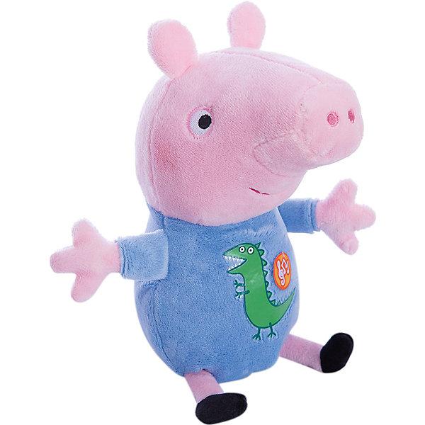 Мягкая игрушка Джордж, 25 см, со звуком, Свинка ПеппаМузыкальные мягкие игрушки<br>Что может быть лучше мягкого плюшевого друга? Только плюшевый герой любимого мультфильма. Малыш Джордж из мультфильма «Свинка Пеппа» – то, что нужно. Он мягкий и необыкновенно приятный на ощупь, так что обнимать его – одно удовольствие. Нажмите на животик, чтобы услышать веселую песенку из мультфильма и забавное хрюканье. С таким очаровательным другом малышу и играть весело, и спать сладко. Игра с любимым героем активно развивает у малыша воображение, тактильное восприятие и коммуникативные навыки. А если приобрести другие игрушки из серии «Peppa Pig», то ваш ребенок сможет оживить приключения забавных персонажей прямо у вас дома!<br><br>Дополнительная информация:<br><br>Мягкая озвученная игрушка «Джордж» «Peppa Pig» имеет высоту 25 см (размер указан с ножками), изготовлена из мягкой, приятной на ощупь велюровой ткани, плотно набита. <br>Глаза и рот вышиты, на голубой пижаме – красочная аппликация в виде динозавра. <br>Звуковые эффекты: хрюканье и песенка. <br>Игрушка работает от 3 батареек типа AG13 или LR44.<br><br>Мягкую игрушку Джордж, 25 см, со звуком, Свинка Пеппа можно купить в нашем магазине.<br><br>Ширина мм: 210<br>Глубина мм: 140<br>Высота мм: 100<br>Вес г: 131<br>Возраст от месяцев: 36<br>Возраст до месяцев: 84<br>Пол: Унисекс<br>Возраст: Детский<br>SKU: 4623379