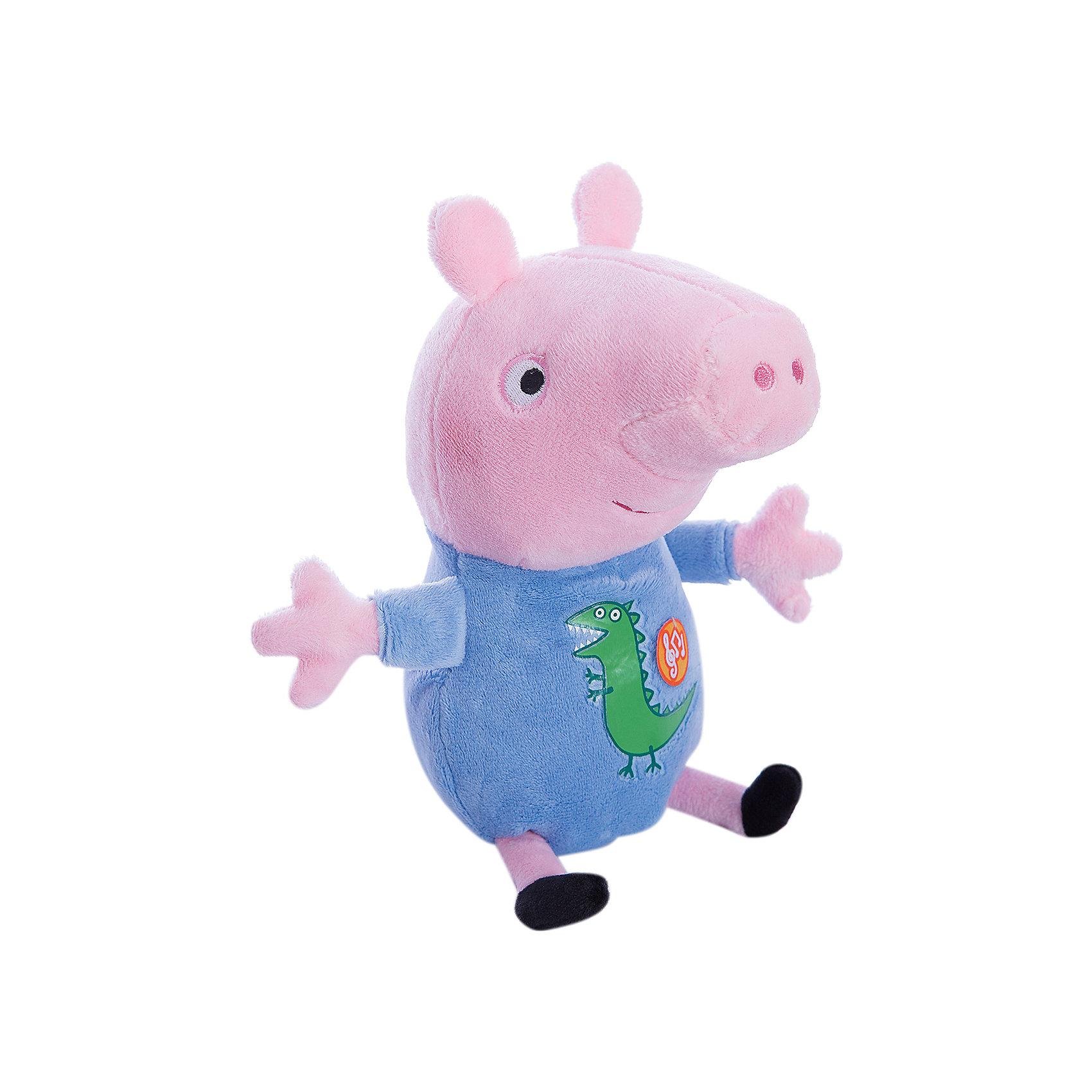 Мягкая игрушка Джордж, 25 см, со звуком, Свинка ПеппаЧто может быть лучше мягкого плюшевого друга? Только плюшевый герой любимого мультфильма. Малыш Джордж из мультфильма «Свинка Пеппа» – то, что нужно. Он мягкий и необыкновенно приятный на ощупь, так что обнимать его – одно удовольствие. Нажмите на животик, чтобы услышать веселую песенку из мультфильма и забавное хрюканье. С таким очаровательным другом малышу и играть весело, и спать сладко. Игра с любимым героем активно развивает у малыша воображение, тактильное восприятие и коммуникативные навыки. А если приобрести другие игрушки из серии «Peppa Pig», то ваш ребенок сможет оживить приключения забавных персонажей прямо у вас дома!&#13;<br><br>Дополнительная информация:<br><br>Мягкая озвученная игрушка «Джордж» «Peppa Pig» имеет высоту 25 см (размер указан с ножками), изготовлена из мягкой, приятной на ощупь велюровой ткани, плотно набита. <br>Глаза и рот вышиты, на голубой пижаме – красочная аппликация в виде динозавра. <br>Звуковые эффекты: хрюканье и песенка. <br>Игрушка работает от 3 батареек типа AG13 или LR44.<br><br>Мягкую игрушку Джордж, 25 см, со звуком, Свинка Пеппа можно купить в нашем магазине.<br><br>Ширина мм: 210<br>Глубина мм: 140<br>Высота мм: 100<br>Вес г: 131<br>Возраст от месяцев: 36<br>Возраст до месяцев: 84<br>Пол: Унисекс<br>Возраст: Детский<br>SKU: 4623379
