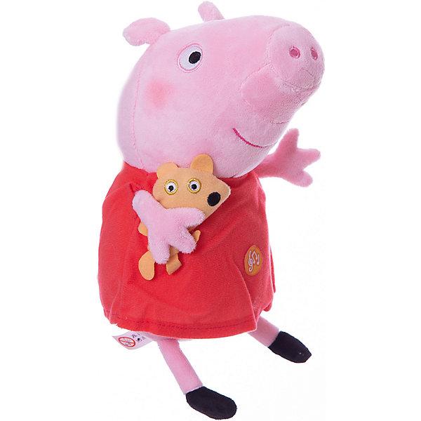 Пеппа с игрушкой, 30 см, со звуком, Свинка ПеппаМузыкальные мягкие игрушки<br>Что может быть лучше мягкого плюшевого друга? Только плюшевая героиня любимого мультфильма. Свинка Пеппа из одноименного анимационного сериала – как раз то, что нужно. Она мягкая и необыкновенно приятная на ощупь, так что обнимать Пеппу – одно удовольствие. Нажмите на животик, чтобы услышать музыкальное приветствие, 2 забавных стишка и веселую песенку из мультфильма. С такой очаровательной подругой малютке и играть весело, и спать сладко. Игра с Пеппой активно развивает у малыша воображение, тактильное восприятие и коммуникативные навыки. А если приобрести другие игрушки из серии «Peppa Pig», то ваш ребенок сможет оживить приключения любимых персонажей прямо у вас дома!&#13;<br><br>Дополнительная информация:<br><br>Мягкая озвученная игрушка «Пеппа с игрушкой» «Peppa Pig» имеет высоту 30 см (размер указан с ножками), изготовлена из мягкой, приятной на ощупь велюровой ткани, плотно набита.<br>Глаза и рот вышиты, под лапкой – медвежонок.<br>Игрушка работает от 4 батареек типа AG13 или LR44.<br><br>Пеппу с игрушкой, 30 см, со звуком, Свинка Пеппа можно купить в нашем магазине.<br><br>Ширина мм: 23<br>Глубина мм: 125<br>Высота мм: 110<br>Вес г: 169<br>Возраст от месяцев: 36<br>Возраст до месяцев: 84<br>Пол: Унисекс<br>Возраст: Детский<br>SKU: 4623380