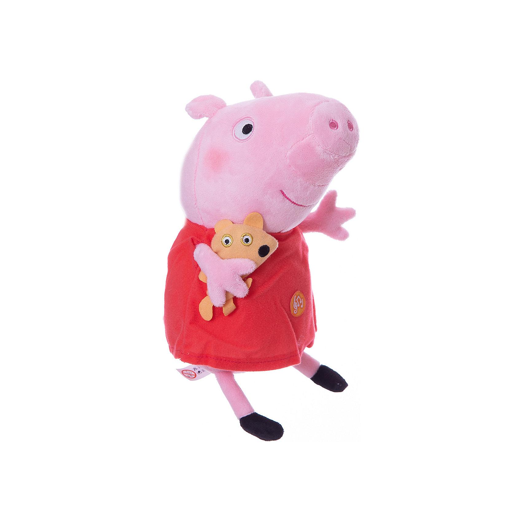 Пеппа с игрушкой, 30 см, со звуком, Свинка ПеппаЛюбимые герои<br>Что может быть лучше мягкого плюшевого друга? Только плюшевая героиня любимого мультфильма. Свинка Пеппа из одноименного анимационного сериала – как раз то, что нужно. Она мягкая и необыкновенно приятная на ощупь, так что обнимать Пеппу – одно удовольствие. Нажмите на животик, чтобы услышать музыкальное приветствие, 2 забавных стишка и веселую песенку из мультфильма. С такой очаровательной подругой малютке и играть весело, и спать сладко. Игра с Пеппой активно развивает у малыша воображение, тактильное восприятие и коммуникативные навыки. А если приобрести другие игрушки из серии «Peppa Pig», то ваш ребенок сможет оживить приключения любимых персонажей прямо у вас дома!&#13;<br><br>Дополнительная информация:<br><br>Мягкая озвученная игрушка «Пеппа с игрушкой» «Peppa Pig» имеет высоту 30 см (размер указан с ножками), изготовлена из мягкой, приятной на ощупь велюровой ткани, плотно набита.<br>Глаза и рот вышиты, под лапкой – медвежонок.<br>Игрушка работает от 4 батареек типа AG13 или LR44.<br><br>Пеппу с игрушкой, 30 см, со звуком, Свинка Пеппа можно купить в нашем магазине.<br><br>Ширина мм: 23<br>Глубина мм: 125<br>Высота мм: 110<br>Вес г: 169<br>Возраст от месяцев: 36<br>Возраст до месяцев: 84<br>Пол: Унисекс<br>Возраст: Детский<br>SKU: 4623380