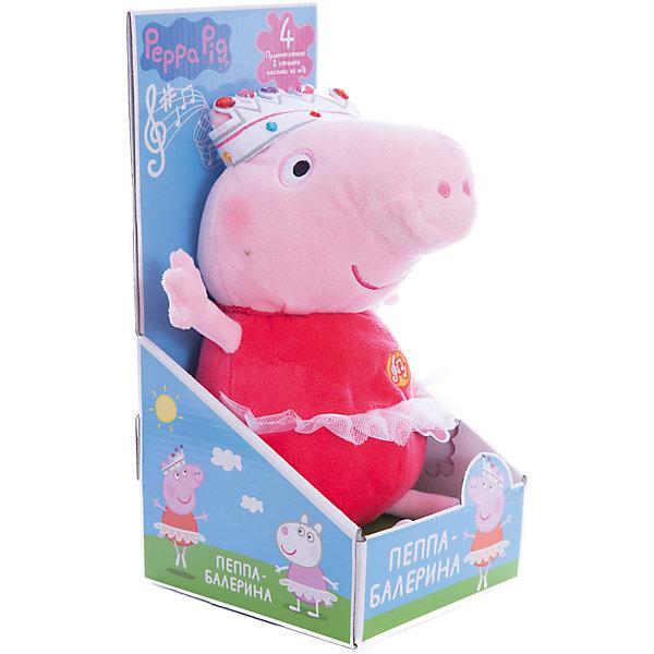 Мягкая игрушка Пеппа-балерина, 30 см, со звукомМузыкальные мягкие игрушки<br>Красивая мягкая игрушка в виде Свинки Пеппы из одноименного мультфильма в очаровательной пачке и яркой короне – это замечательный подарок малютке к любому празднику. Обнимать ее – одно удовольствие, ведь она большая и необыкновенно мягкая и приятная на ощупь. Нажмите на животик, чтобы услышать музыкальное приветствие, 2 забавных стишка и веселую песенку из мультфильма. Увлекательная игра с новой подругой активно развивает у малыша воображение, тактильное восприятие и коммуникативные навыки. А если приобрести другие игрушки из серии «Peppa Pig», то ваш ребенок сможет оживить приключения любимых персонажей прямо у вас дома!&#13;<br><br>Дополнительная информация:<br><br>Мягкая озвученная игрушка «Пеппа-балерина» «Peppa Pig» имеет высоту 30 см (размер указан с ножками), изготовлена из мягкой, приятной на ощупь велюровой ткани, плотно набита. <br>Глаза и рот вышиты. <br>Игрушка работает от 5 батареек типа AG13 или LR44. <br>Упаковка – открытая подарочная коробка 29,2х14,2х13,7 см.<br><br>Мягкую игрушку Пеппа-балерина, 30 см, со звуком можно купить в нашем магазине.<br><br>Ширина мм: 295<br>Глубина мм: 140<br>Высота мм: 140<br>Вес г: 309<br>Возраст от месяцев: 36<br>Возраст до месяцев: 84<br>Пол: Унисекс<br>Возраст: Детский<br>SKU: 4623381