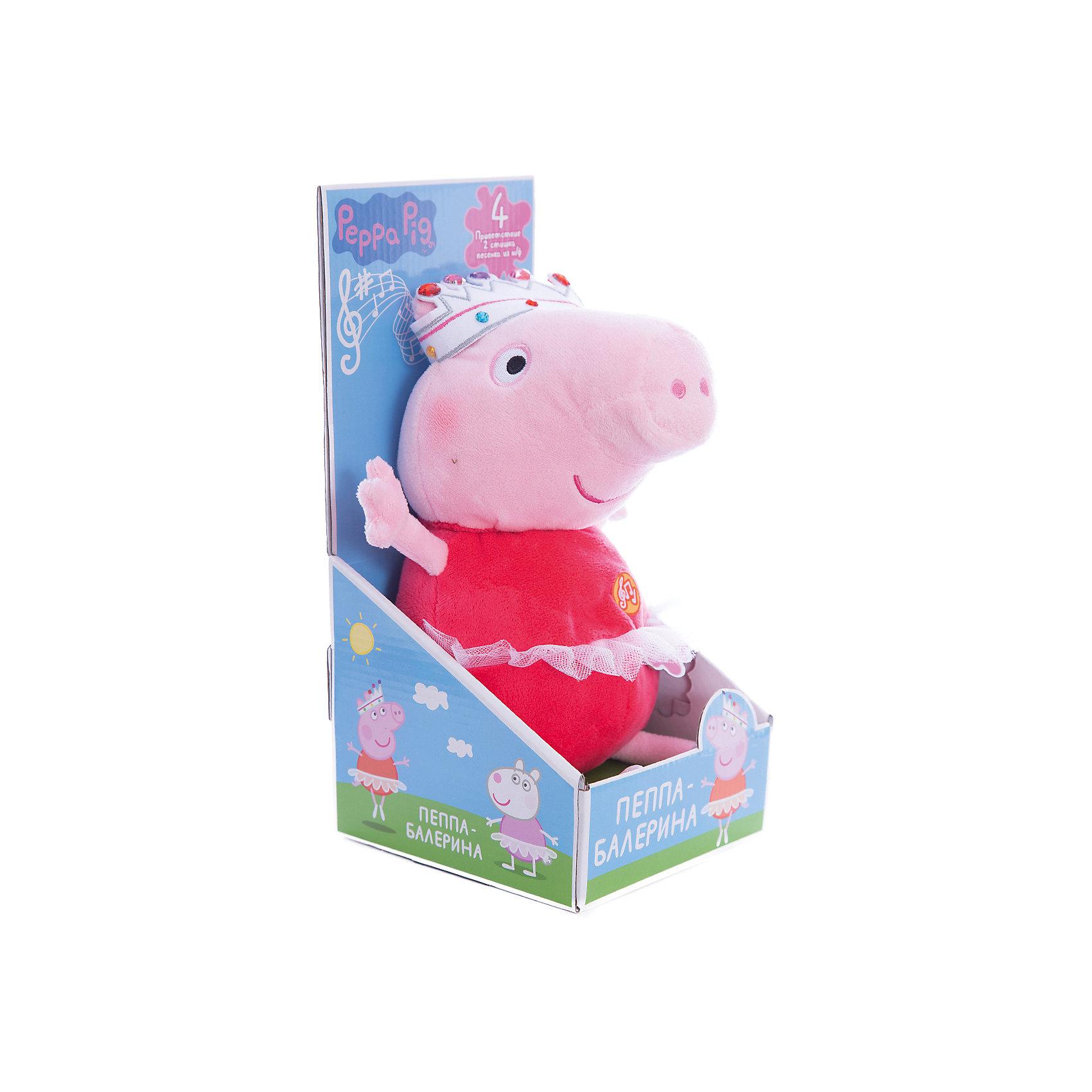 Мягкая игрушка Пеппа-балерина, 30 см, со звукомКрасивая мягкая игрушка в виде Свинки Пеппы из одноименного мультфильма в очаровательной пачке и яркой короне – это замечательный подарок малютке к любому празднику. Обнимать ее – одно удовольствие, ведь она большая и необыкновенно мягкая и приятная на ощупь. Нажмите на животик, чтобы услышать музыкальное приветствие, 2 забавных стишка и веселую песенку из мультфильма. Увлекательная игра с новой подругой активно развивает у малыша воображение, тактильное восприятие и коммуникативные навыки. А если приобрести другие игрушки из серии «Peppa Pig», то ваш ребенок сможет оживить приключения любимых персонажей прямо у вас дома!&#13;<br><br>Дополнительная информация:<br><br>Мягкая озвученная игрушка «Пеппа-балерина» «Peppa Pig» имеет высоту 30 см (размер указан с ножками), изготовлена из мягкой, приятной на ощупь велюровой ткани, плотно набита. <br>Глаза и рот вышиты. <br>Игрушка работает от 5 батареек типа AG13 или LR44. <br>Упаковка – открытая подарочная коробка 29,2х14,2х13,7 см.<br><br>Мягкую игрушку Пеппа-балерина, 30 см, со звуком можно купить в нашем магазине.<br><br>Ширина мм: 295<br>Глубина мм: 140<br>Высота мм: 140<br>Вес г: 309<br>Возраст от месяцев: 36<br>Возраст до месяцев: 84<br>Пол: Унисекс<br>Возраст: Детский<br>SKU: 4623381