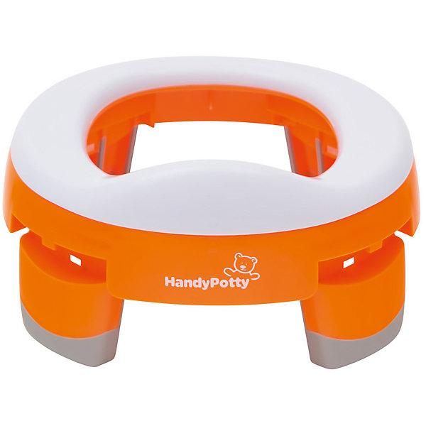 Дорожный горшок HandyPotty, оранжевыйДетские горшки и писсуары<br>Характеристики товара:<br><br>• в комплекте: горшок, сумка<br>• возраст: от 12 месяцев<br>• максимальный вес ребенка: до 25 кг.<br>• материал: полипропилен<br>• цвет: оранжевый<br>• высота в сложенном виде: 5 см.<br>• высота в разложенном виде: 11,2 см.<br>• размер упаковки: 24х24х8 см.<br>• вес: 500 гр.<br>• ВНИМАНИЕ: силиконовая вкладка не входит в комплект - приобретается отдельно!<br><br>Горшок HandyPotty может функционировать в качестве трех полноценных предметов детской гигиены: обычный горшок, складной дорожный горшок, адаптер на унитаз. Дорожный горшок HandyPotty имеет несколько важных преимуществ:<br><br>Дорожный горшок – используется со специальными одноразовыми сменными пакетами, которые устанавливаются на место вкладки, а после использования просто утилизируются, как подгузники. Пакеты кладутся под сиденье, так что ребенок не испытывает никаких дискомфортных ощущений. Для удобства переноски ножки горшка складываются внутрь, так что приспособление занимает минимум места. <br><br>Адаптер на унитаз. Вы можете использовать HandyPotty в качестве детского сиденья на унитаз, просто развернув ножки в стороны до упора. Это<br>позволяет ребенку безопасно сидеть на взрослом унитазе, а само сиденье предотвращает контакт с бактериями, обитающими на крышке унитаза.<br>Легкая, но прочная конструкция. Горшок выполнен аккуратно и надежно, поэтому он не сломается даже после многократного использования.<br><br>Дорожный горшок и насадку на унитаз HandyPotty (Хэнди Потти) можно купить в нашем интернет-магазине.<br><br>Ширина мм: 240<br>Глубина мм: 240<br>Высота мм: 80<br>Вес г: 500<br>Цвет: оранжевый<br>Возраст от месяцев: 12<br>Возраст до месяцев: 36<br>Пол: Унисекс<br>Возраст: Детский<br>SKU: 4623925