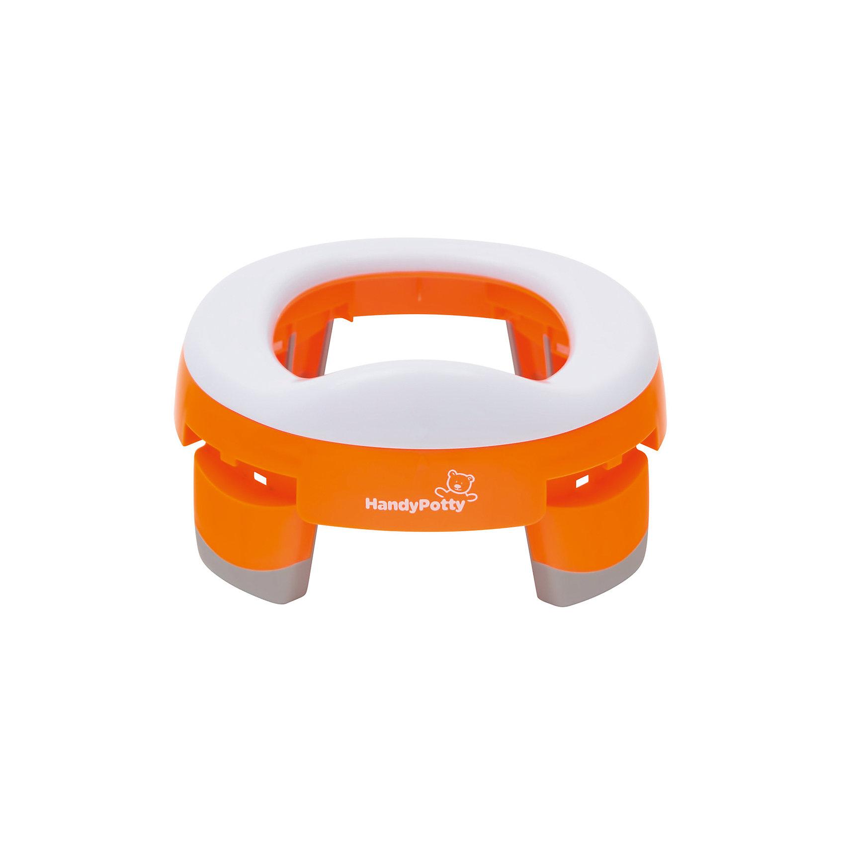 Дорожный горшок и насадка на унитаз HandyPotty, оранжевыйГоршки, сиденья для унитаза, стульчики-подставки<br>Дорожный горшок и насадка на унитаз HandyPotty (Хэнди Потти) – это незаменимый аксессуар дома, на прогулке или в длительной поездке с малышом.<br>Горшок HandyPotty (Хэнди Потти) - это простое приспособление сочетает в себе функции трех аксессуаров: обычного горшка, дорожного горшка и адаптера для унитаза, что позволяет использовать HandyPotty (Хэнди Потти) длительное время. Многофункциональность складного горшка обеспечивает продуманная конструкция: широкое пластиковое сиденье установлено на четыре широкие устойчивые ножки. Сиденье имеет небольшой барьер, предотвращающий разбрызгивание. Чтобы выбрать нужную функцию, достаточно изменить положение ножек, установив горшок на комфортную высоту, и воспользоваться дополнительными аксессуарами, такими как силиконовая вкладка, которая легко вынимается и моется. В дороге можно пользоваться сменными пакетами. Пакеты кладутся под сиденье, так что ребенок не испытывает никаких дискомфортных ощущений. Для удобства переноски ножки складываются внутрь, горшок легко помещается в удобную сумку, так что приспособление занимает минимум места. Вы можете использовать HandyPotty (Хэнди Потти) в качестве детского сиденья на унитаз, просто развернув ножки в стороны до упора. Это позволяет ребенку безопасно сидеть на взрослом унитазе, и предотвращает контакт с бактериями, обитающими на крышке унитаза. Горшок выполнен аккуратно и надежно, поэтому он не сломается даже после многократного использования. Изделие имеет небольшой вес, выполнено из качественного гипоаллергенного материала.<br><br>Дополнительная информация:<br><br>- В комплекте: горшок, сумка<br>- Возраст: от 12 месяцев<br>- Максимальный вес ребенка: до 25 кг.<br>- Материал: полипропилен<br>- Цвет: оранжевый<br>- Высота в сложенном виде: 5 см.<br>- Высота в разложенном виде: 11,2 см.<br>- Размер упаковки: 24х24х8 см.<br>- Вес: 500 гр.<br><br>Дорожный горшок и насадка на унит