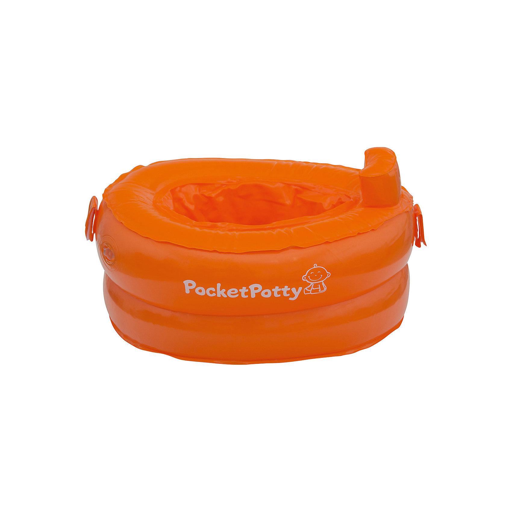 Надувной дорожный горшок PocketPotty со сменными пакетамиДетские горшки<br>Надувной дорожный горшок PocketPotty со сменными пакетами – это компактный вариант дорожного горшка!<br>Горшок PocketPotty (ПокетПотти) удобен для путешествий или длительных прогулок с малышом. Благодаря небольшому весу и компактным размерам в сложенном состоянии модель удобно переносить. Выпустив из горшка воздух, помогающий ему держать форму, вы поместите его даже в небольшой кармашек сумки. Конструкция из двух широких камер обеспечивает необходимую устойчивость и достаточную для малыша высоту посадки. Специальный барьер предотвращает разбрызгивание жидкости. Горшок PocketPotty (ПокетПотти) может использоваться в комплекте со специальными одноразовыми вкладышами, которые интенсивно впитывают жидкость и превращают ее в гель. После использования вкладыши можно выбросить. Изначально в комплекте с надувным дорожным горшком PocketPotty (ПокетПотти) идут три таких вкладыша. В дальнейшем можно покупать их или сменные пакеты для дорожного горшка отдельно. Горшок сделан из прочных гипоаллергенных материалов. Он незаменим для отправления естественных потребностей малыша в любом общественном месте или таком замкнутом пространстве, как салон автобуса или самолета, а также автомобиль или поезд.<br><br>Дополнительная информация:<br><br>- Особенности: простота переноски, минимальный вес, высокое сиденье, удобство конструкции, надежность<br>- В комплекте: горшок, 3 одноразовых пакета-вкладыша<br>- Возраст: от 15 месяцев<br>- Максимальная нагрузка: 25 кг.<br>- Цвет: оранжевый<br>- Материал: ПВХ, полиэтилен<br>- Высота в надутом состоянии: 14,5 см.<br>- Размер упаковки: 14x14x6 см.<br>- Вес: 500 гр.<br><br>Надувной дорожный горшок PocketPotty со сменными пакетами можно купить в нашем интернет-магазине.<br><br>Ширина мм: 140<br>Глубина мм: 140<br>Высота мм: 60<br>Вес г: 500<br>Цвет: оранжевый<br>Возраст от месяцев: 18<br>Возраст до месяцев: 36<br>Пол: Унисекс<br>Возраст: Детский<br>SKU: 4623927