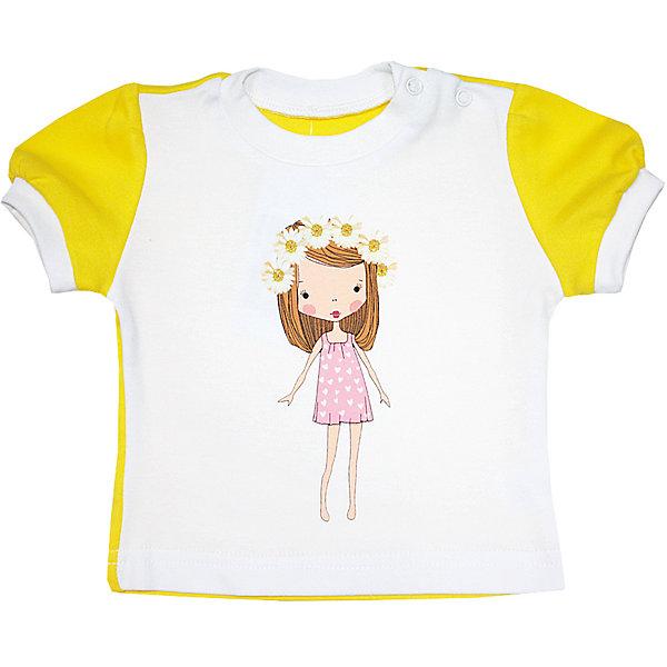 Футболка для девочки KotMarKotФутболки, топы<br>Характеристики товара:<br><br>• цвет: белый<br>• состав ткани: 100% хлопок<br>• сезон: лето<br>• застежка: кнопки<br>• короткие рукава<br>• страна бренда: Россия<br>• страна изготовитель: Россия<br><br>Симпатичная футболка для ребенка отличается мягкими швами. Детская футболка легко надевается. Футболка для ребенка сделана из натурального дышащего хлопка. Детская одежда от российского бренда KotMarKot обеспечит ребенку комфорт.<br><br>Футболку KotMarKot (КотМарКот) для девочки можно купить в нашем интернет-магазине.<br>Ширина мм: 157; Глубина мм: 13; Высота мм: 119; Вес г: 200; Цвет: желтый; Возраст от месяцев: 3; Возраст до месяцев: 6; Пол: Женский; Возраст: Детский; Размер: 68,74,80,86,92,98; SKU: 4623979;