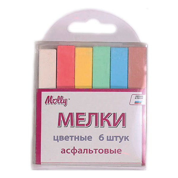 Мел асфальтный, 6 цветовМелки для асфальта<br>Характеристики асфальтового цветного мела:<br><br>• возраст: от 3 лет<br>• пол: для мальчиков и девочек<br>• цвет: синий, зеленый, желтый, красный.<br>• материал: картон, пластик, краска.<br>• размер упаковки: 7x5x1 см<br>• упаковка: картонная коробка.<br>• бред: Molly (Молли)<br>• страна обладатель бренда: Россия.<br><br>Мел для рисования цветной, асфальтовый можно использовать для рисования на асфальте, бордюрах, школьной доске. Мел легко наносится на поверхность, при этом не крошится и не пачкает рук.<br><br>Мелки асфальтовые цветные торговой марки Molly (Молли) можно купить в нашем интернет-магазине.<br><br>Ширина мм: 80<br>Глубина мм: 15<br>Высота мм: 75<br>Вес г: 80<br>Возраст от месяцев: 36<br>Возраст до месяцев: 2147483647<br>Пол: Унисекс<br>Возраст: Детский<br>SKU: 4624481