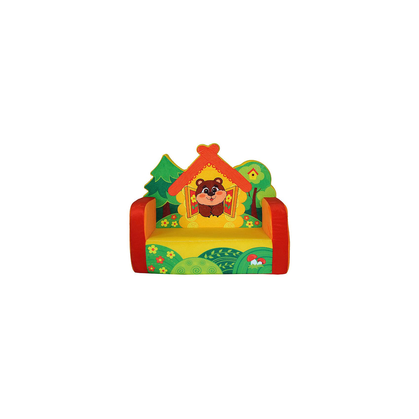 Диван ТеремокМаленький диван Теремок  для малышей функционален и декоративен, ведь он украшен яркой красочной иллюстрацией в виде бурого медвежонка, выглядывающего из избушки.<br>Спинка дивана имеет необычную резную форму в виде двух деревьев и крыши домика, что придает изделию необычный вид. Такой диванчик очарует многих детей, а благодаря нейтральной расцветке, он впишется в интерьер комнаты как мальчиков, так и девочек. Покрытие дивана выполнено из приятного на ощупь, гладкого текстиля, а внутренняя часть сделана из поролона.<br><br>Дополнительная информация: <br><br>- цвет: оранжевый, желтый, коричневый, зеленый.<br>- материл: текстиль, поролон.<br>- размер: 70* 35 *58 см.<br>- размер упаковки: 38*69*60 см.<br>- материал: поролон, искусственный мех<br>- вес: 1,82 кг.<br><br>Диван Теремок можно купить в нашем интернет-магазине.<br><br>Ширина мм: 70<br>Глубина мм: 35<br>Высота мм: 58<br>Вес г: 1700<br>Возраст от месяцев: 36<br>Возраст до месяцев: 2147483647<br>Пол: Унисекс<br>Возраст: Детский<br>SKU: 4627618