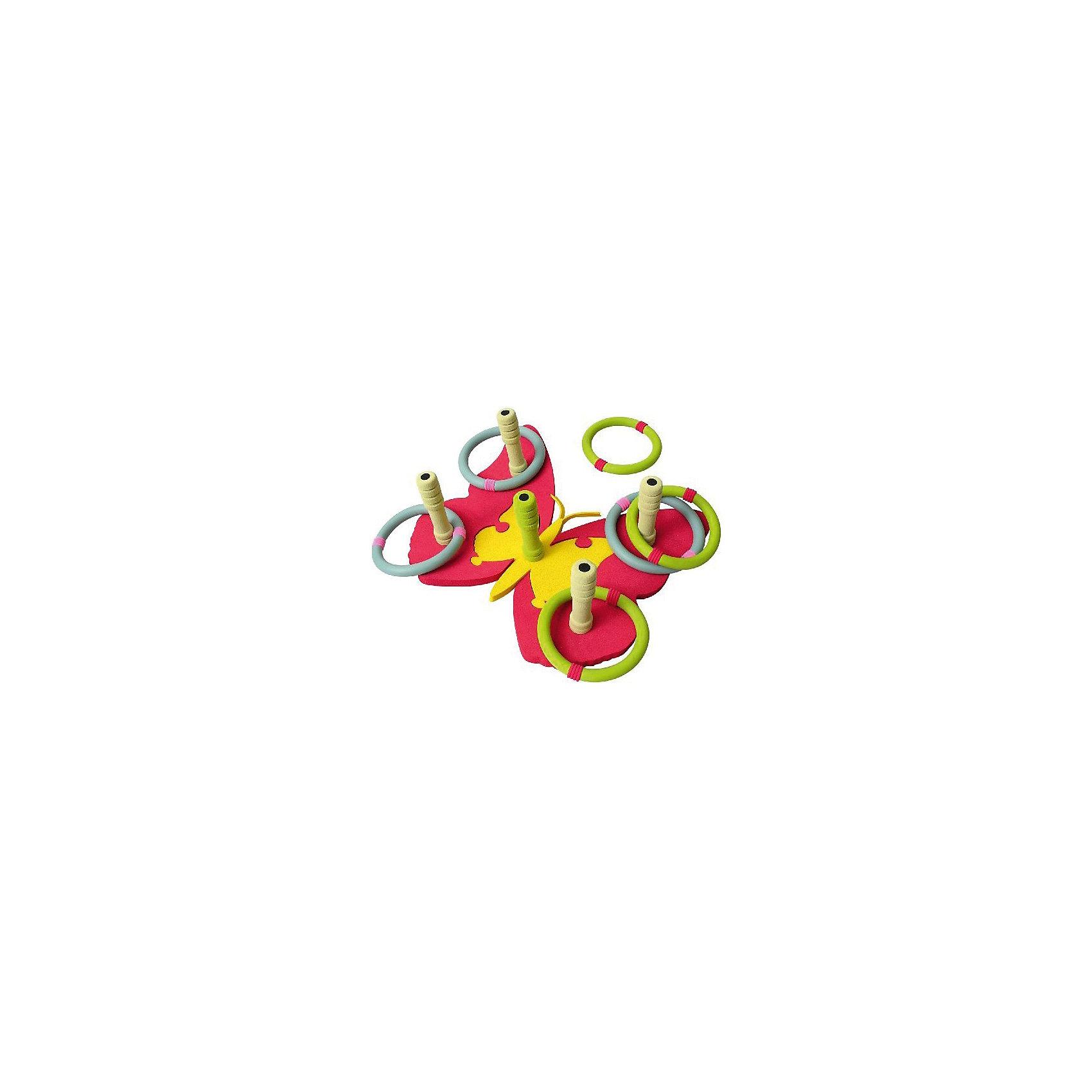 Кольцеброс Бабочка, SafsofКольцеброс Бабочка, Safsof - прекрасный вариант для подвижных активных игр в помещении или на открытом воздухе. В комплект входят кольцеброс в виде яркой красочной бабочки с 5 колышками и 6 разноцветных колец. Колышки имеют закруглённые безопасные концы. Цель игры - насадить на колышки как можно больше колечек. Набор выполнен из качественных экологичных материалов, легко чистится и моется. Развивает координацию и моторику движений, меткость, ловкость и внимательность.<br><br>Дополнительная информация:<br><br>- В комплекте: кольцеброс-бабочка с 5 колышками, 6 колец.<br>- Материал: пенорезина. <br>- Диаметр кольца: 12 см.<br>- Размер упаковки: 35 х 42 х 4 см.<br>- Вес: 0,3 кг.<br> <br>Кольцеброс Бабочка, Safsof, можно купить в нашем интернет-магазине.<br><br>Ширина мм: 350<br>Глубина мм: 370<br>Высота мм: 50<br>Вес г: 140<br>Возраст от месяцев: 36<br>Возраст до месяцев: 144<br>Пол: Унисекс<br>Возраст: Детский<br>SKU: 4627943