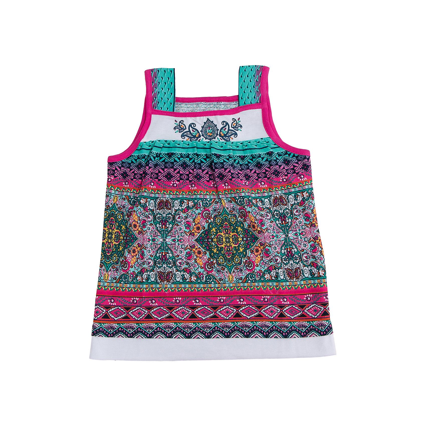 Майка для девочки АпрельФутболки, поло и топы<br>При выборе одежды для маленьких принцесс родители обращают внимание не только на качество, но и на привлекательный внешний вид.<br>Джемпер коллекции Шелковый путь от торговой марки Апрель — это  модель, которая изготовлена из безопасных материалов и имеет необходимые сертификаты качества, скроена с учётом всех важных особенностей строения детской фигуры, за счёт чего обеспечивает исключительный комфорт, отличается дизайном, который определённо понравится девочке. Топ без рукавов, обрамлен контрастной окантовкой, украшен дизайнерским принтом и набивкой. Прекрасный вариант для прогулки! Джемпер Шелковый путь можно сочетать с леггинсами из одноименной коллекции.<br><br>Дополнительная информация: <br><br>- материал: хлопок 100%, кулирка<br>- длина рукава: без рукавов<br>- вид бретелек: широкие бретельки<br>- длина изделия: по спинке: 40 см<br>- вид застежки: без застежки<br>- фактура материала: трикотажный<br>- по назначению: повседневный стиль<br>- сезон: лето<br>- пол: девочки<br>- комплектация: джемпер<br>- торговая марка: Апрель<br>- страна производитель: Россия<br>- коллекция: Шелковый путь<br><br>Джемпер коллекции Шелковый путь от торговой марки Апрель можно купить в нашем интернет-магазине.<br><br>Ширина мм: 190<br>Глубина мм: 74<br>Высота мм: 229<br>Вес г: 236<br>Цвет: бирюзовый<br>Возраст от месяцев: 48<br>Возраст до месяцев: 60<br>Пол: Женский<br>Возраст: Детский<br>Размер: 110,122,116,128,140,134<br>SKU: 4630392