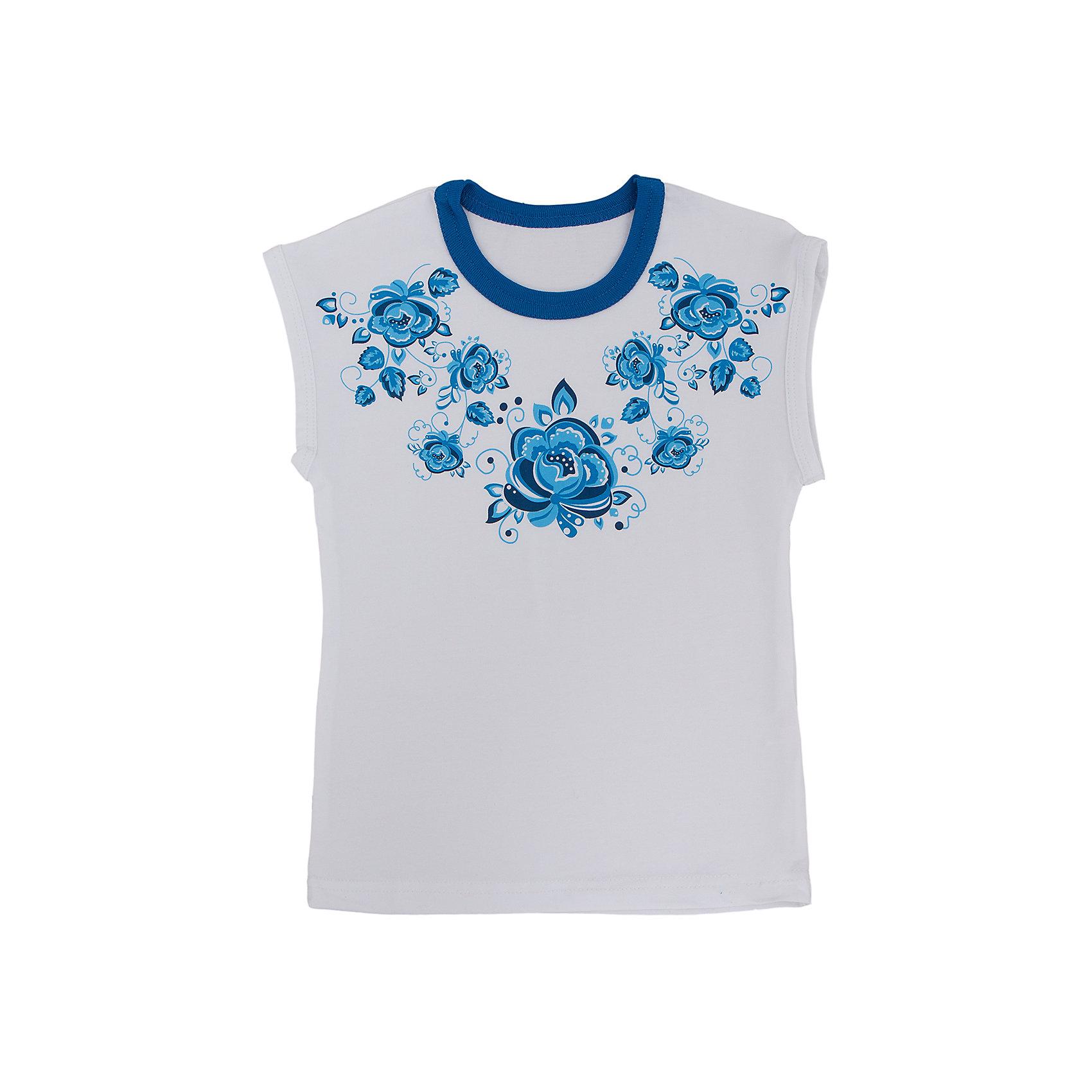 Футболка для девочки АпрельФутболки, поло и топы<br>Красивая футболка из мягкого хлопка. Приятная на ощупь, не сковывает движения, обеспечивая наибольший комфорт. Изделие без рукавов, с контрастной горловиной, украшено дизайнерским цветочным принтом. Отличный вариант для ежедневного использования! Состав: 92% хлопок, 8% лайкра<br><br>Ширина мм: 190<br>Глубина мм: 74<br>Высота мм: 229<br>Вес г: 236<br>Цвет: белый<br>Возраст от месяцев: 18<br>Возраст до месяцев: 24<br>Пол: Женский<br>Возраст: Детский<br>Размер: 92,104,98,116,110,122,128<br>SKU: 4630438