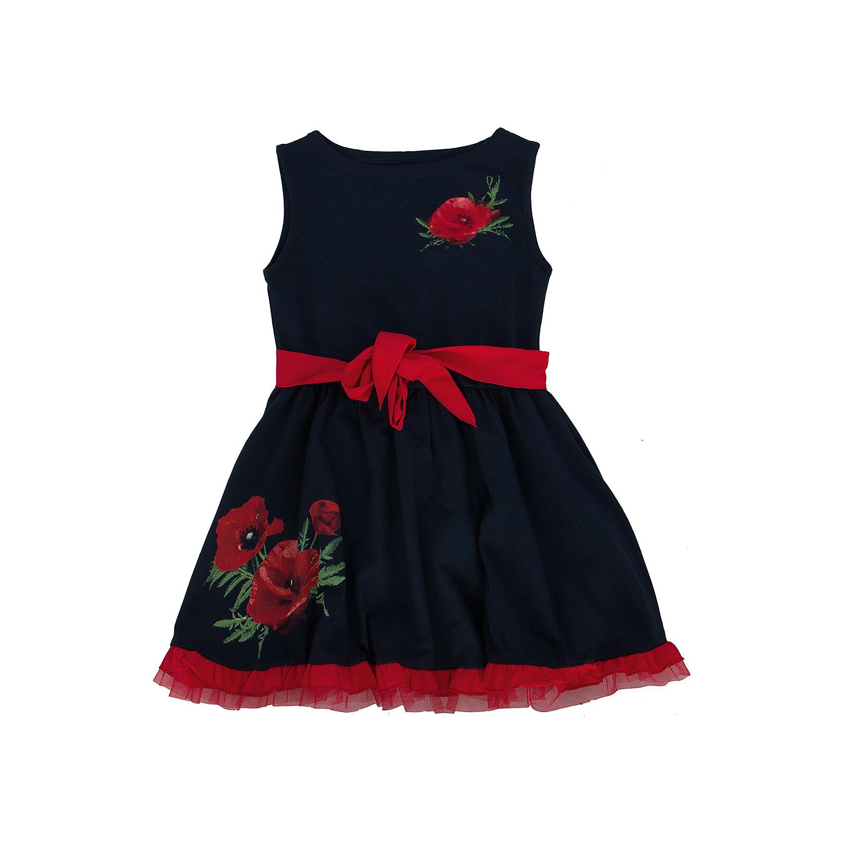 Платье АпрельСтильное летнее платье, выполненное из тонкого хлопкового полотна. Платье от торговой марки  Апрель из коллекции Маки— модель, которая идеально подходит по всем параметрам, потому что платье изготовлено из безопасных материалов и имеет необходимые сертификаты качества, скроено с учётом всех важных особенностей строения детской фигуры, за счёт чего обеспечивает исключительный комфорт;  отличается дизайном, который определённо понравится девочке. Приятное на ощупь, не сковывает движения, обеспечивая наибольший комфорт. Изделие прямого кроя с короткими рукавами, декорировано эффектным дизайнерским принтом. Отличный вариант для прогулки и праздника! Рекомендуется машинная стирка при температуре 40 градусов без предварительного замачивания.<br><br>Дополнительная информация:<br><br>- ткань: кулир<br> - состав: 92% хлопок 8% лайкра<br>- длина рукава: короткие<br>- вид застежки: кнопки<br>- вид бретелек: без бретелек<br>- длина изделия: по спинке: 52 см<br>- фактура материала: трикотажный<br>- длина юбки: мини<br>- тип карманов: без карманов<br>- по назначению: повседневный стиль<br>- цвет: темно-синий, красный, белый<br>- сезон: лето<br>- пол: девочки<br>- страна бренда: Россия<br>- страна производитель: Россия<br>- комплектация: платье<br>- коллекция Маки<br><br>Платье коллекции Маки от торговой марки  Апрель можно купить в нашем интернет-магазине.<br><br>Ширина мм: 236<br>Глубина мм: 16<br>Высота мм: 184<br>Вес г: 177<br>Цвет: синий<br>Возраст от месяцев: 48<br>Возраст до месяцев: 60<br>Пол: Женский<br>Возраст: Детский<br>Размер: 110,128,122,116,140,146,134<br>SKU: 4630500