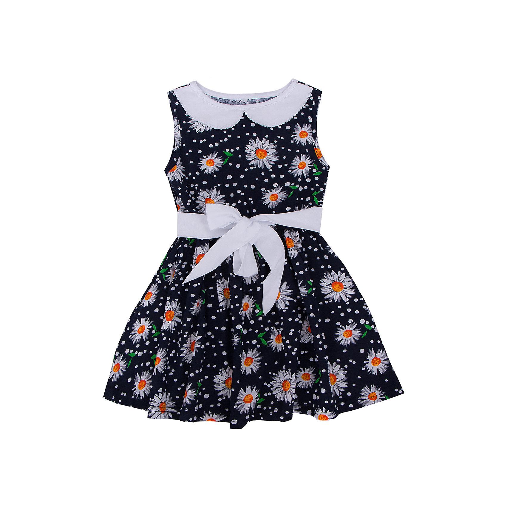 Платье АпрельПлатья и сарафаны<br>Очаровательное платьишко из мягкого хлопка. Приятное на ощупь, не сковывает движения, обеспечивая наибольший комфорт. Изделие без рукавов, для придания элегантного силуэта по линии талии вставлена резинка, декорировано дизайнерской набивкой. Контрастный пояс и накладной воротник завершат образ. Отличный вариант для маленькой модницы как на праздник, так и на каждый день! Рекомендуется деликатная машинная стирка без предварительного замачивания. Состав: 100% хлопок<br><br>Ширина мм: 236<br>Глубина мм: 16<br>Высота мм: 184<br>Вес г: 177<br>Цвет: темно-синий<br>Возраст от месяцев: 24<br>Возраст до месяцев: 36<br>Пол: Женский<br>Возраст: Детский<br>Размер: 98,116,134,104,110,122,128,140<br>SKU: 4630550